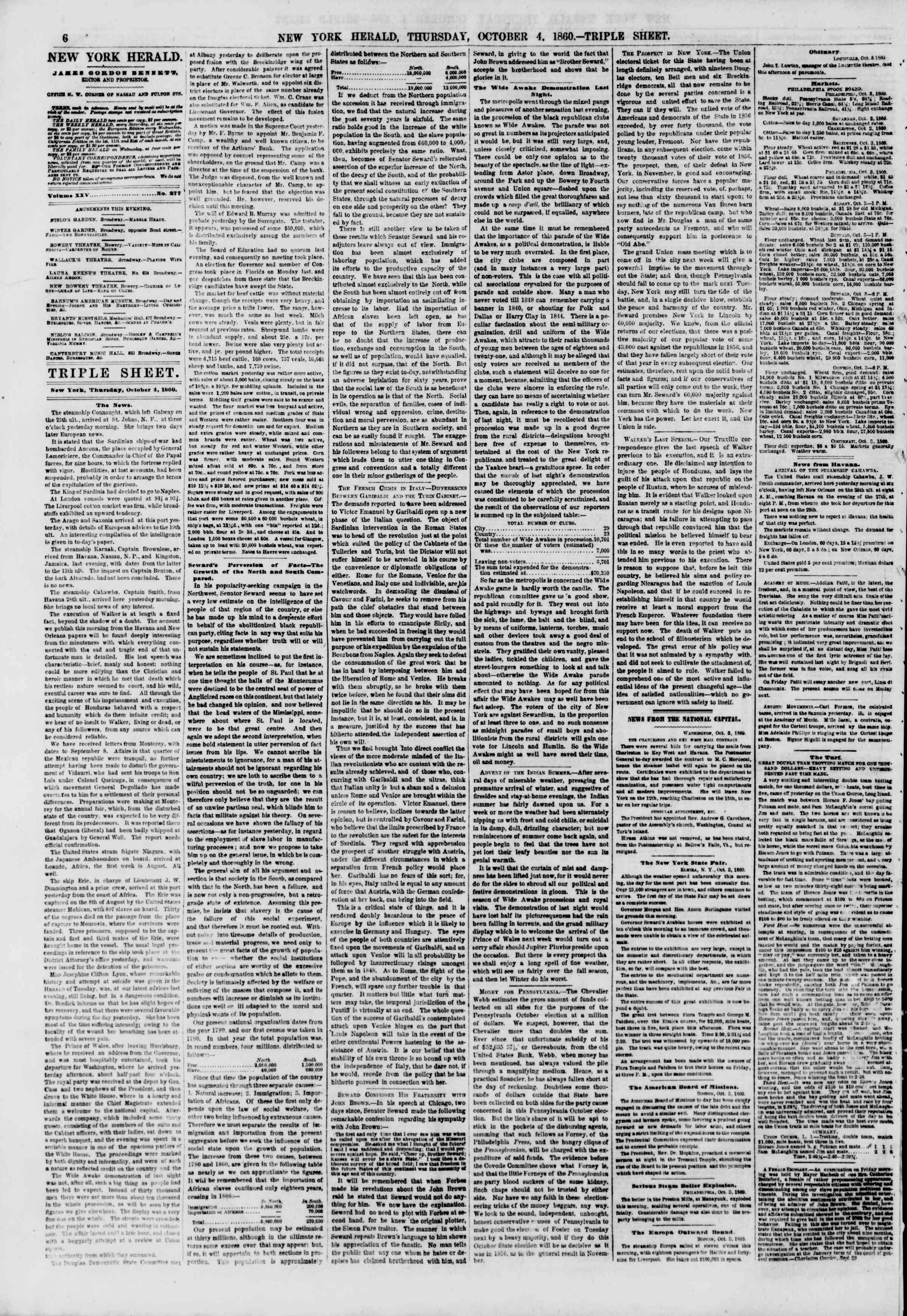 Newspaper of The New York Herald dated October 4, 1860 Page 6