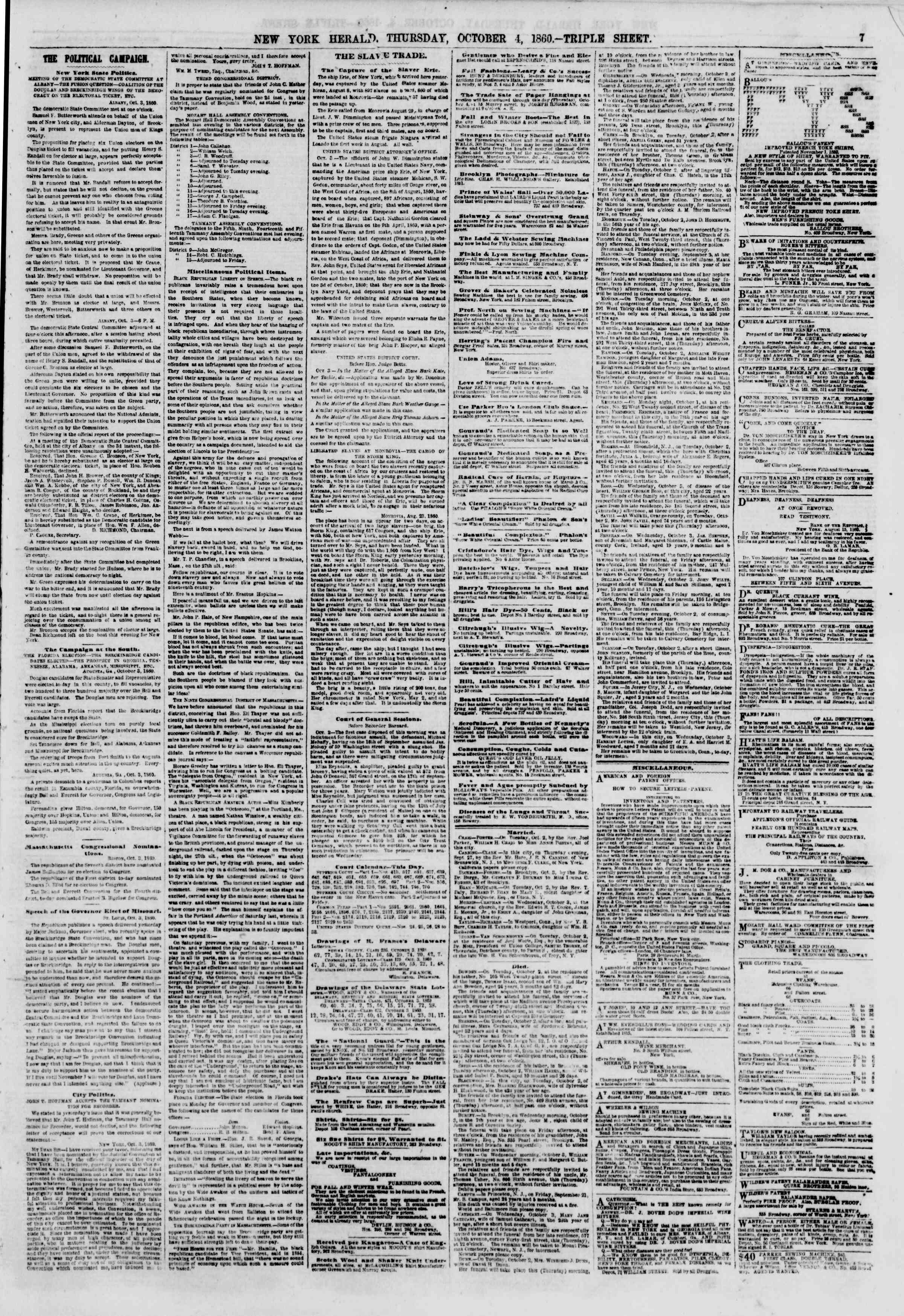 Newspaper of The New York Herald dated October 4, 1860 Page 7