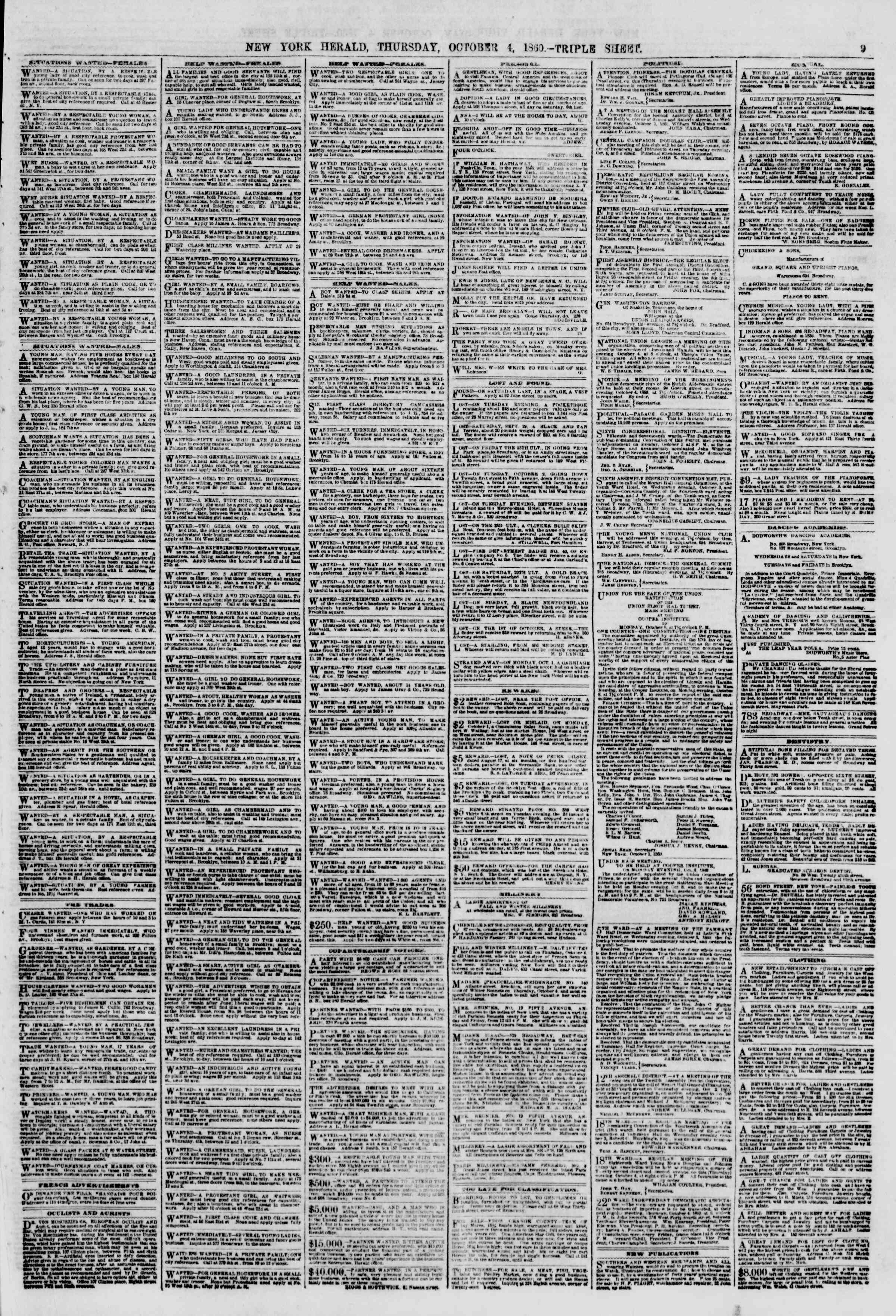 Newspaper of The New York Herald dated October 4, 1860 Page 9