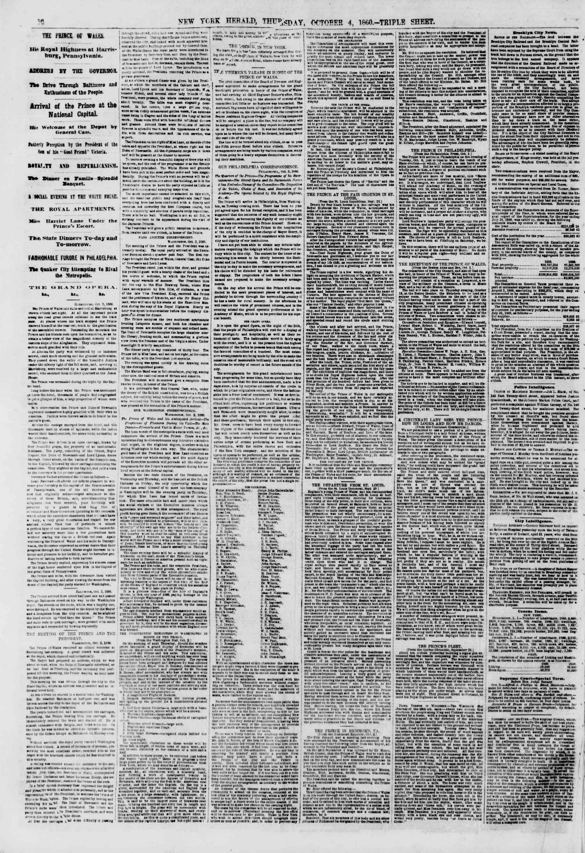 Newspaper of The New York Herald dated October 4, 1860 Page 10