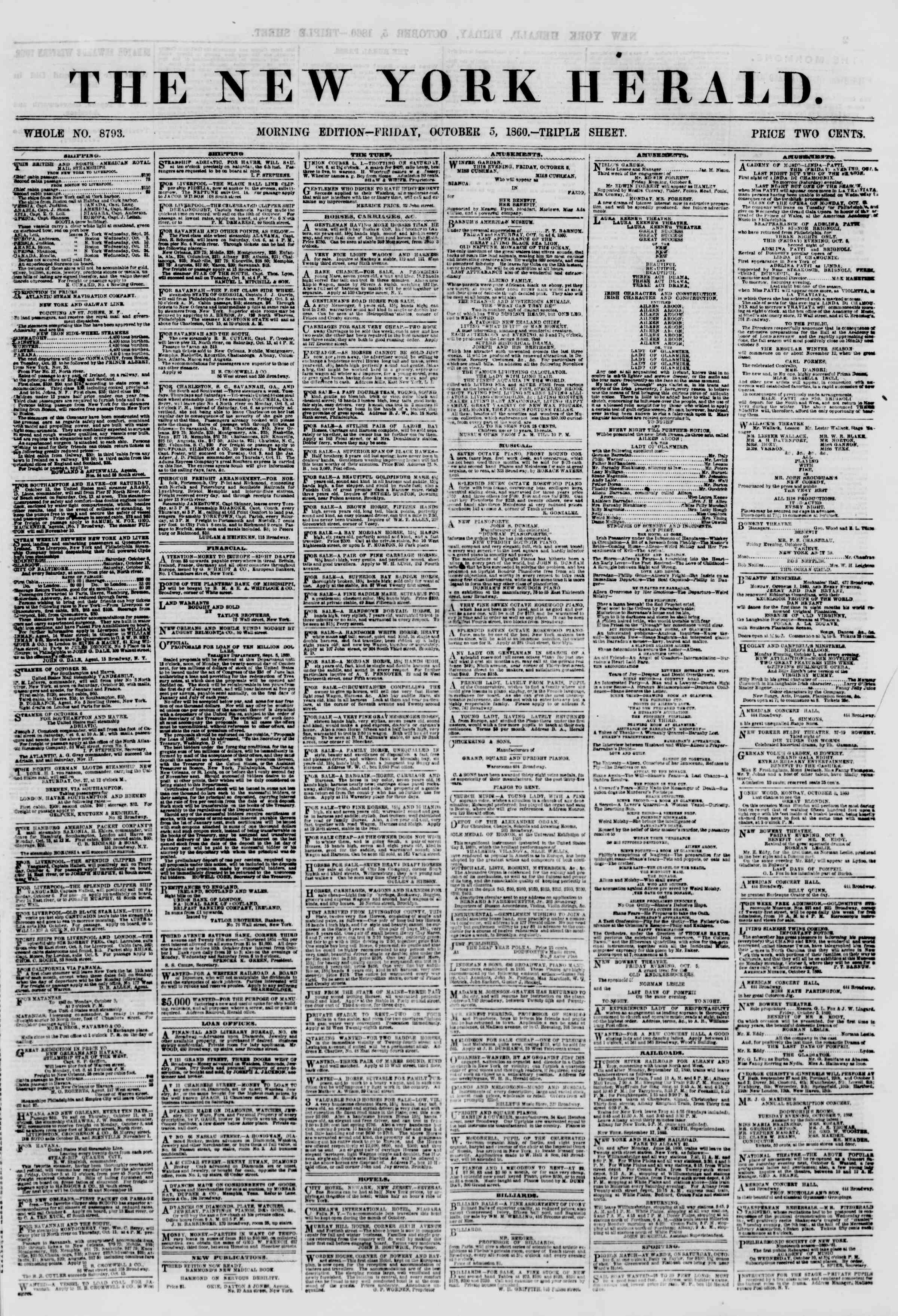 Newspaper of The New York Herald dated October 5, 1860 Page 1