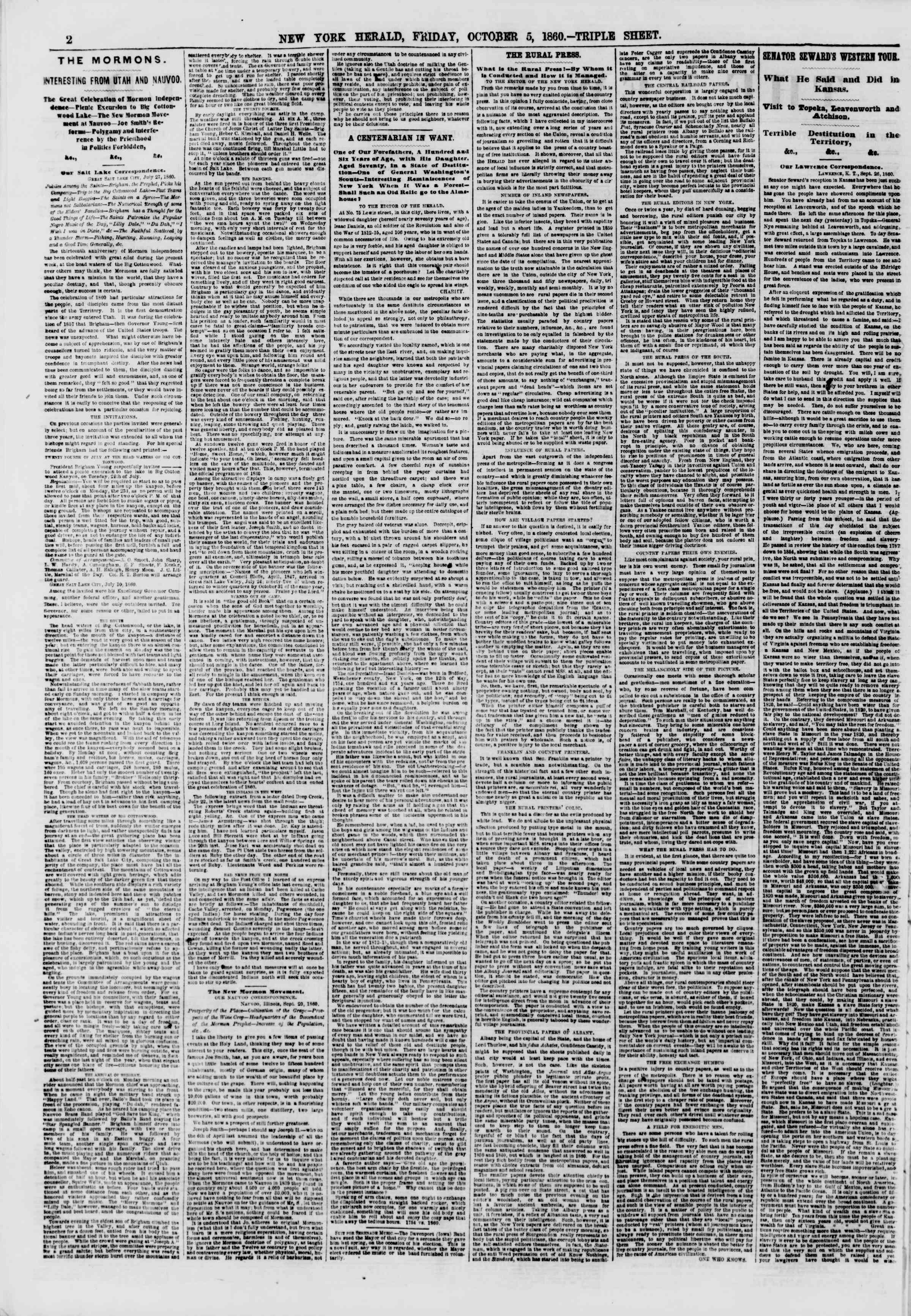Newspaper of The New York Herald dated October 5, 1860 Page 2
