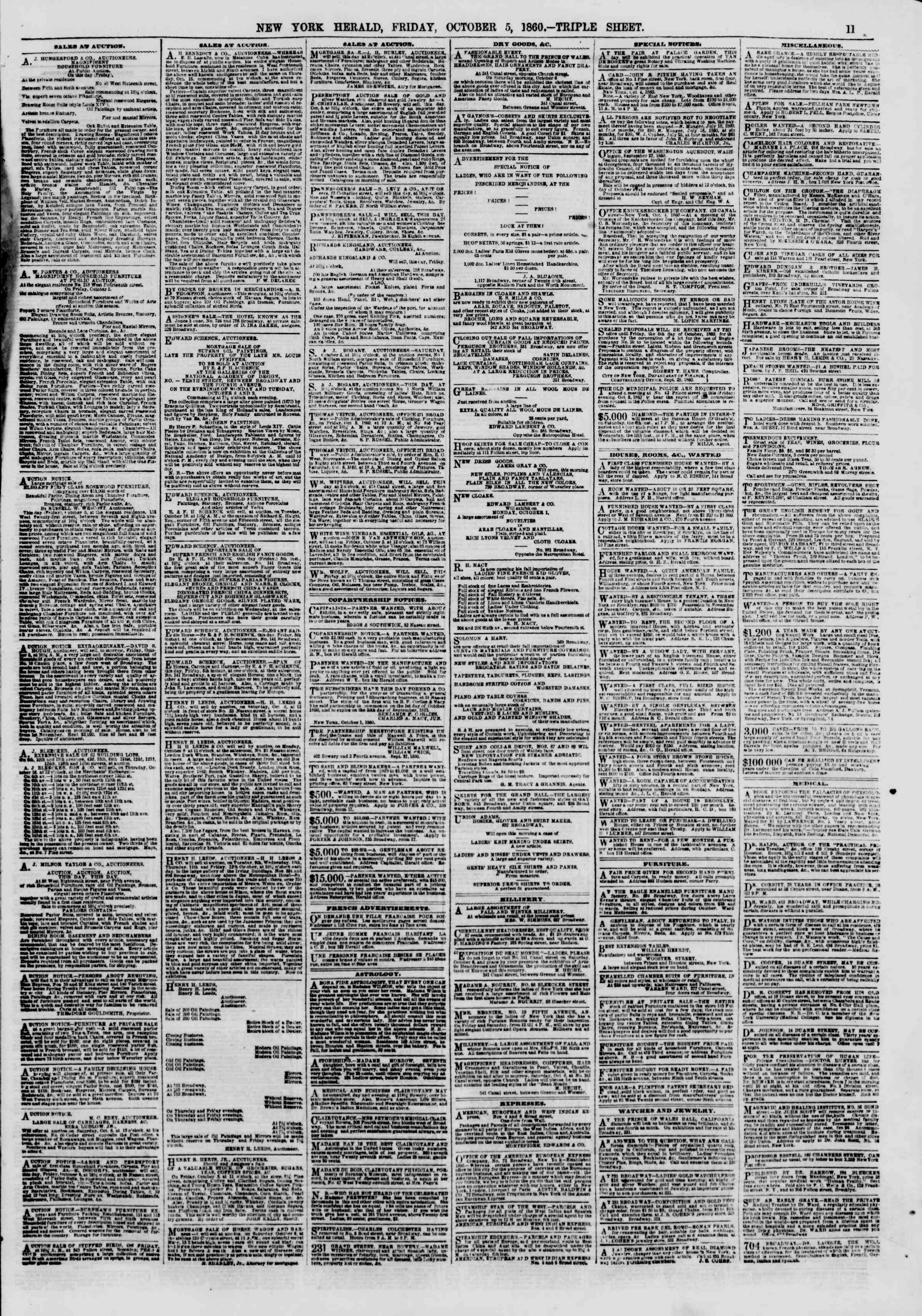 Newspaper of The New York Herald dated October 5, 1860 Page 11
