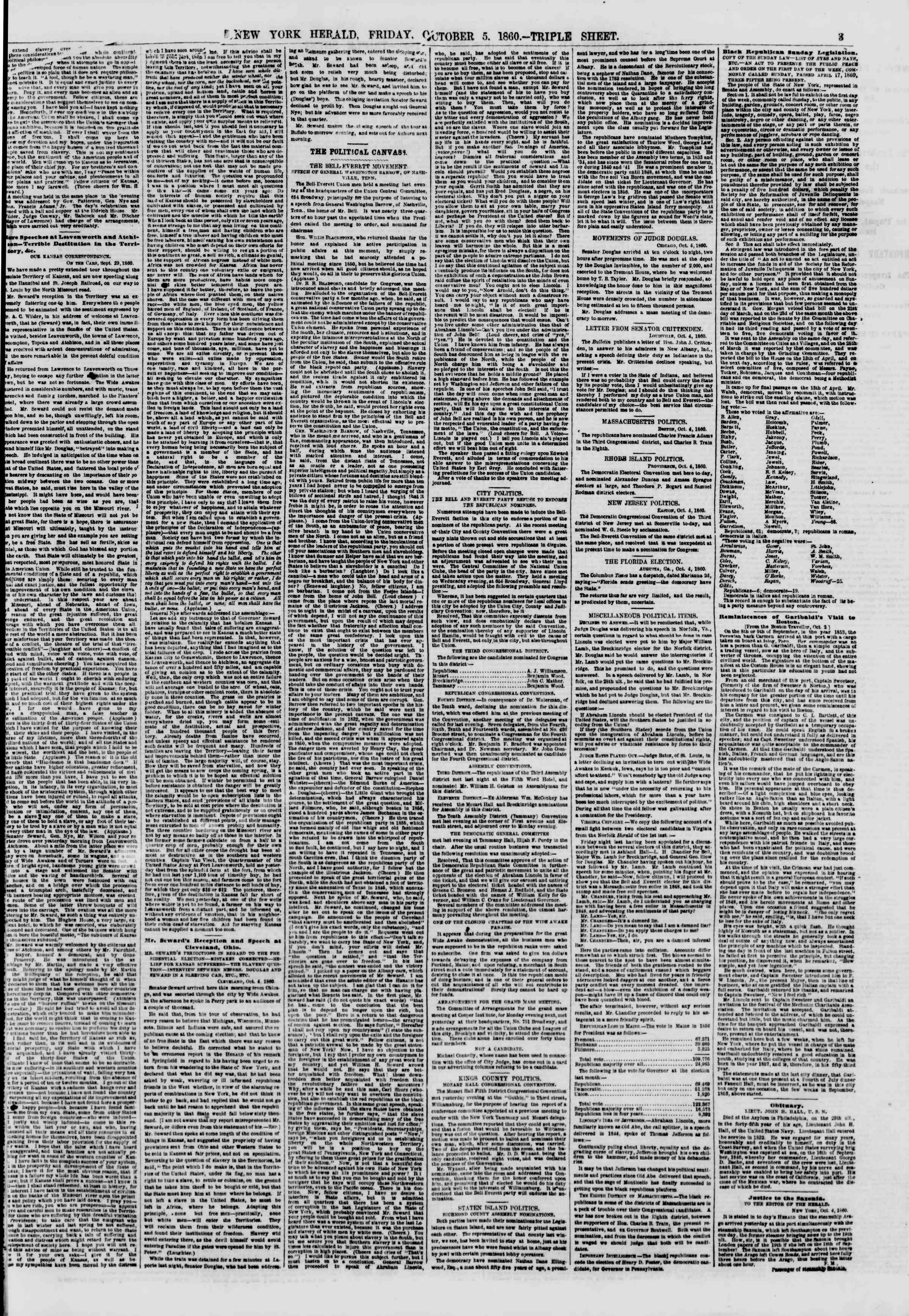Newspaper of The New York Herald dated October 5, 1860 Page 3