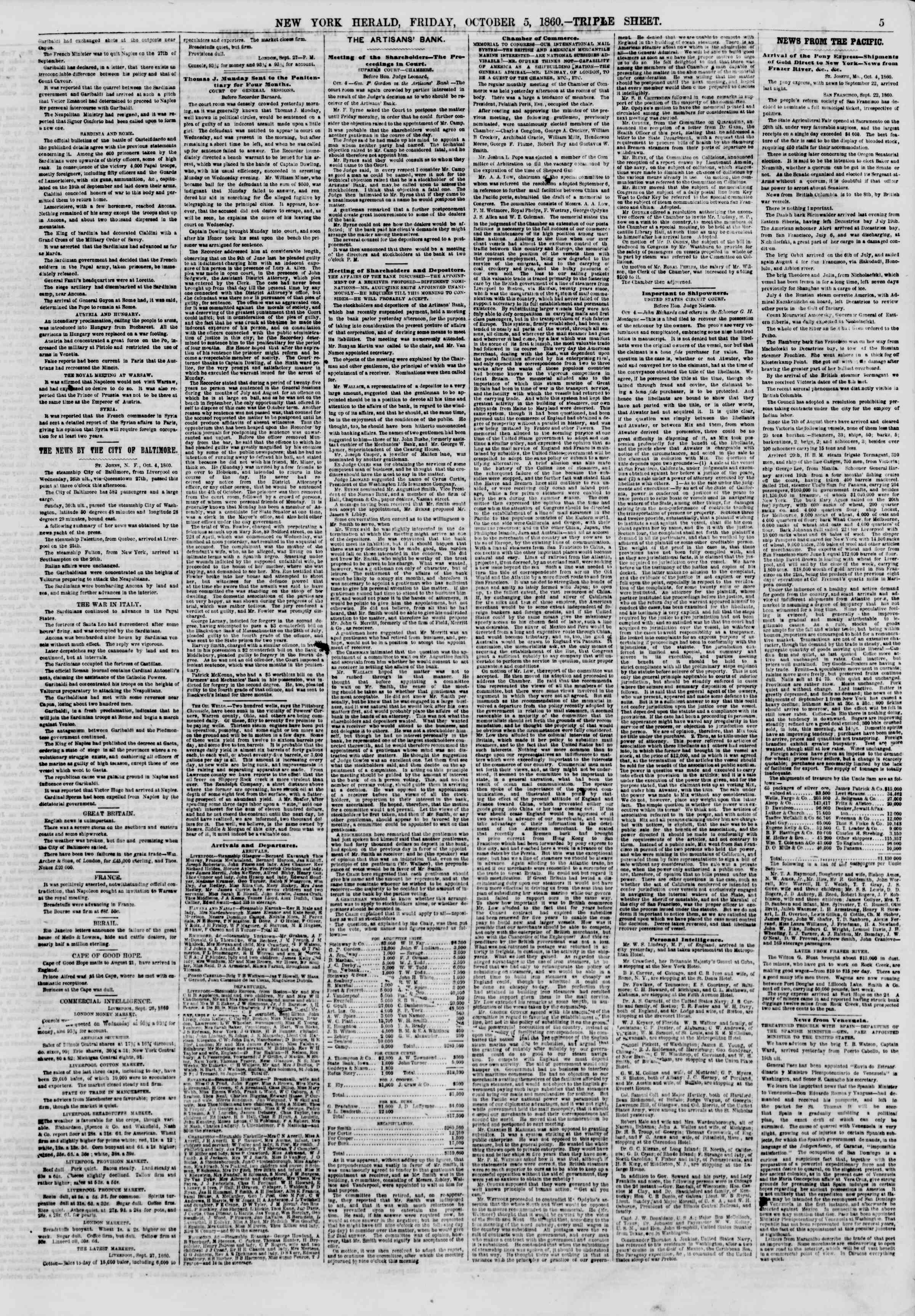 Newspaper of The New York Herald dated October 5, 1860 Page 5