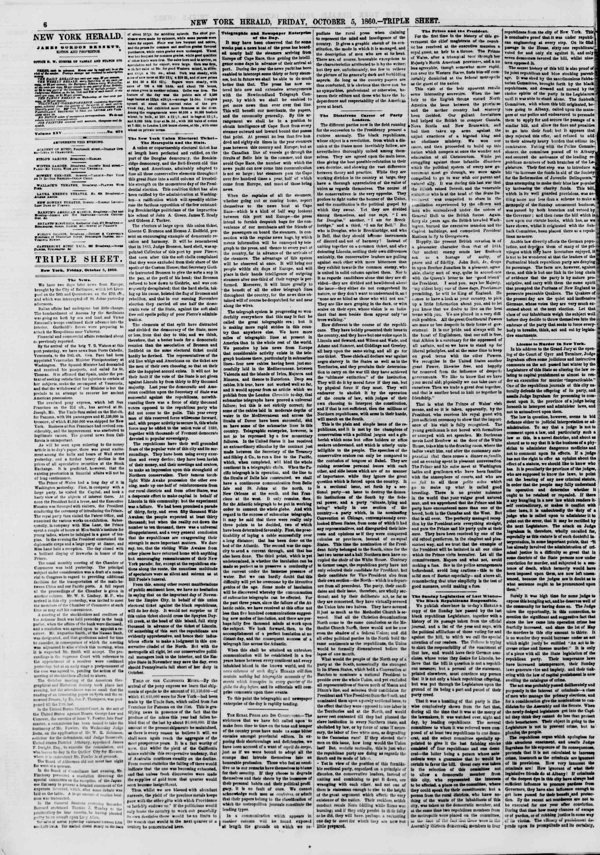 Newspaper of The New York Herald dated October 5, 1860 Page 6