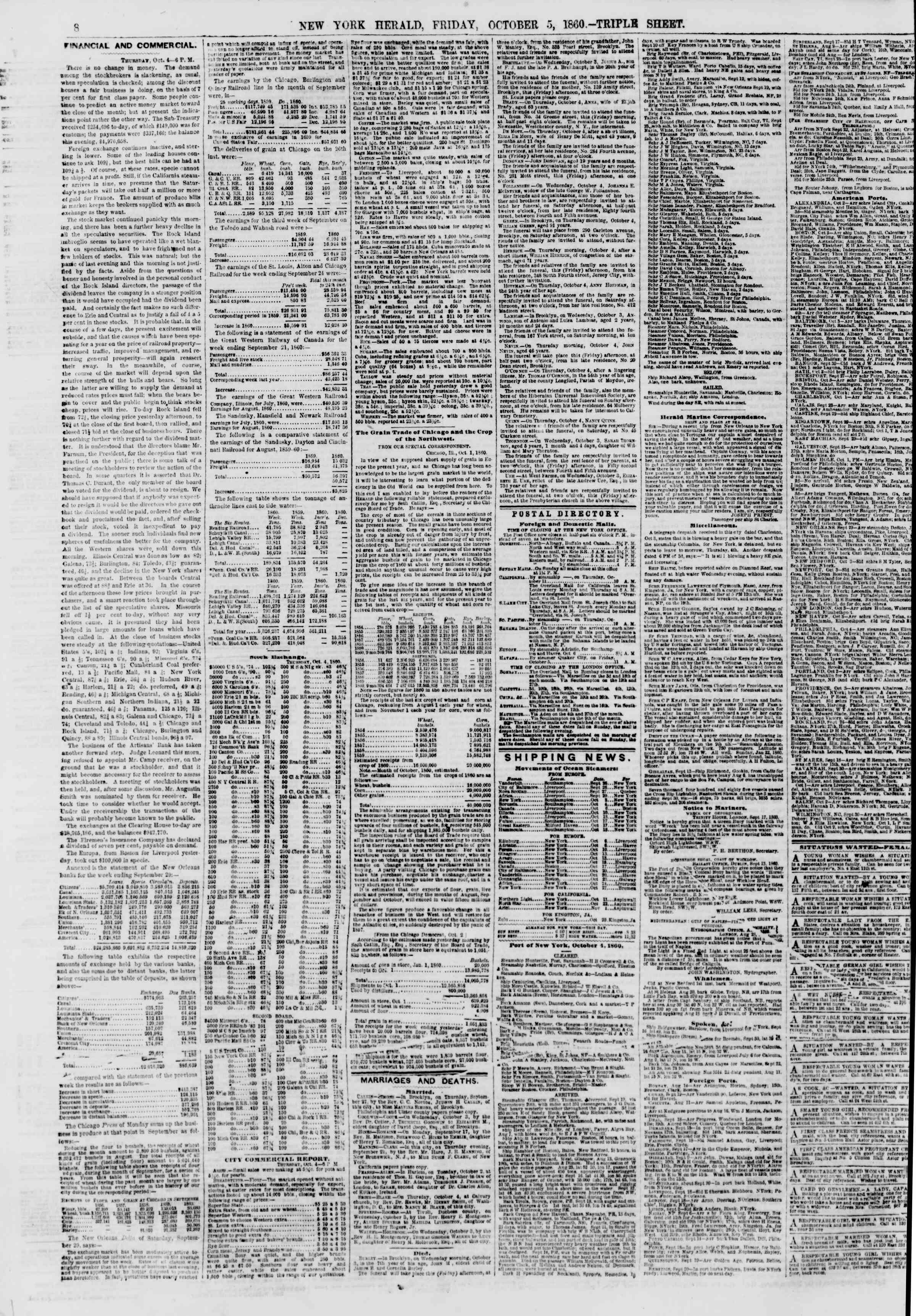 Newspaper of The New York Herald dated October 5, 1860 Page 8