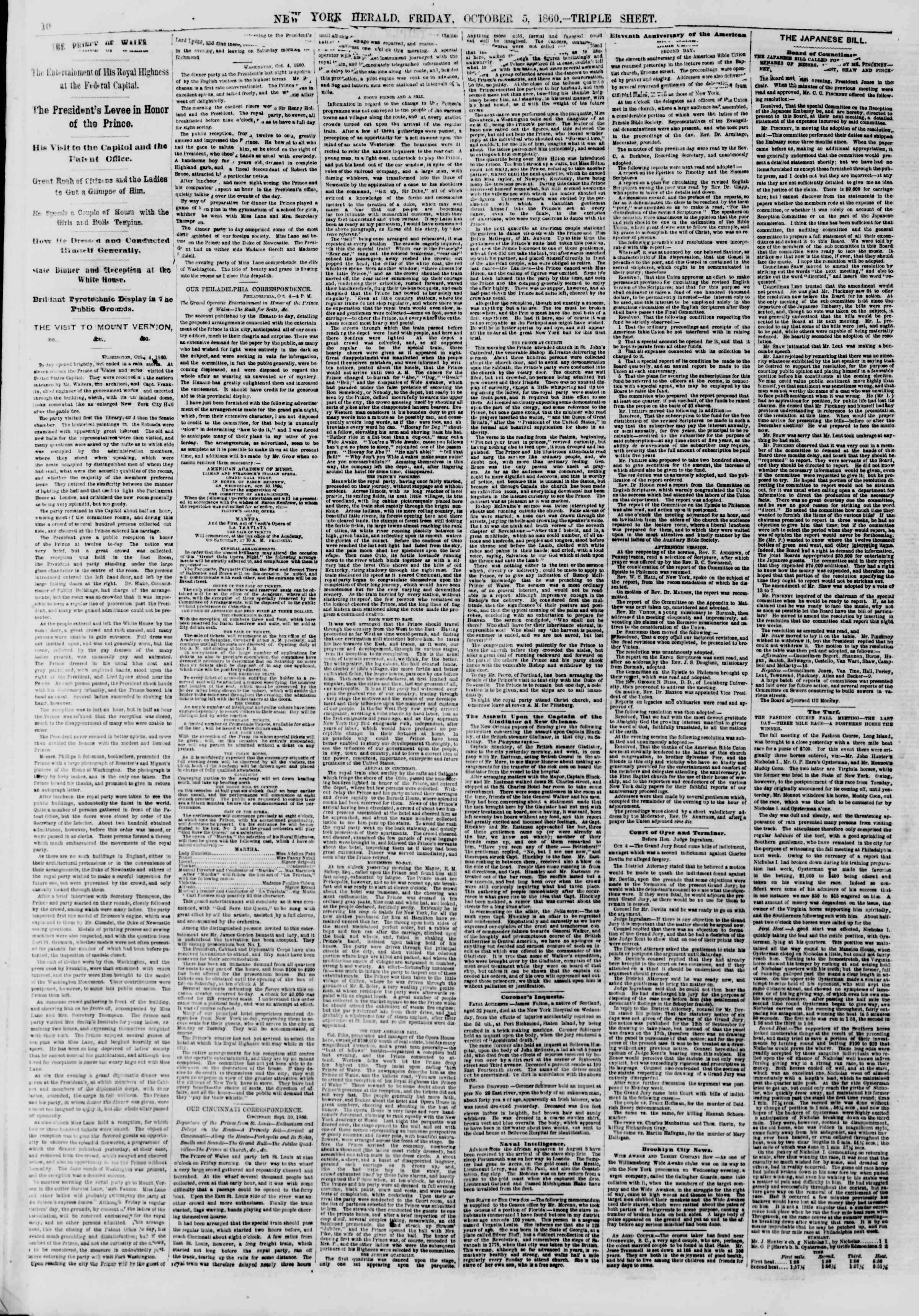 Newspaper of The New York Herald dated October 5, 1860 Page 10