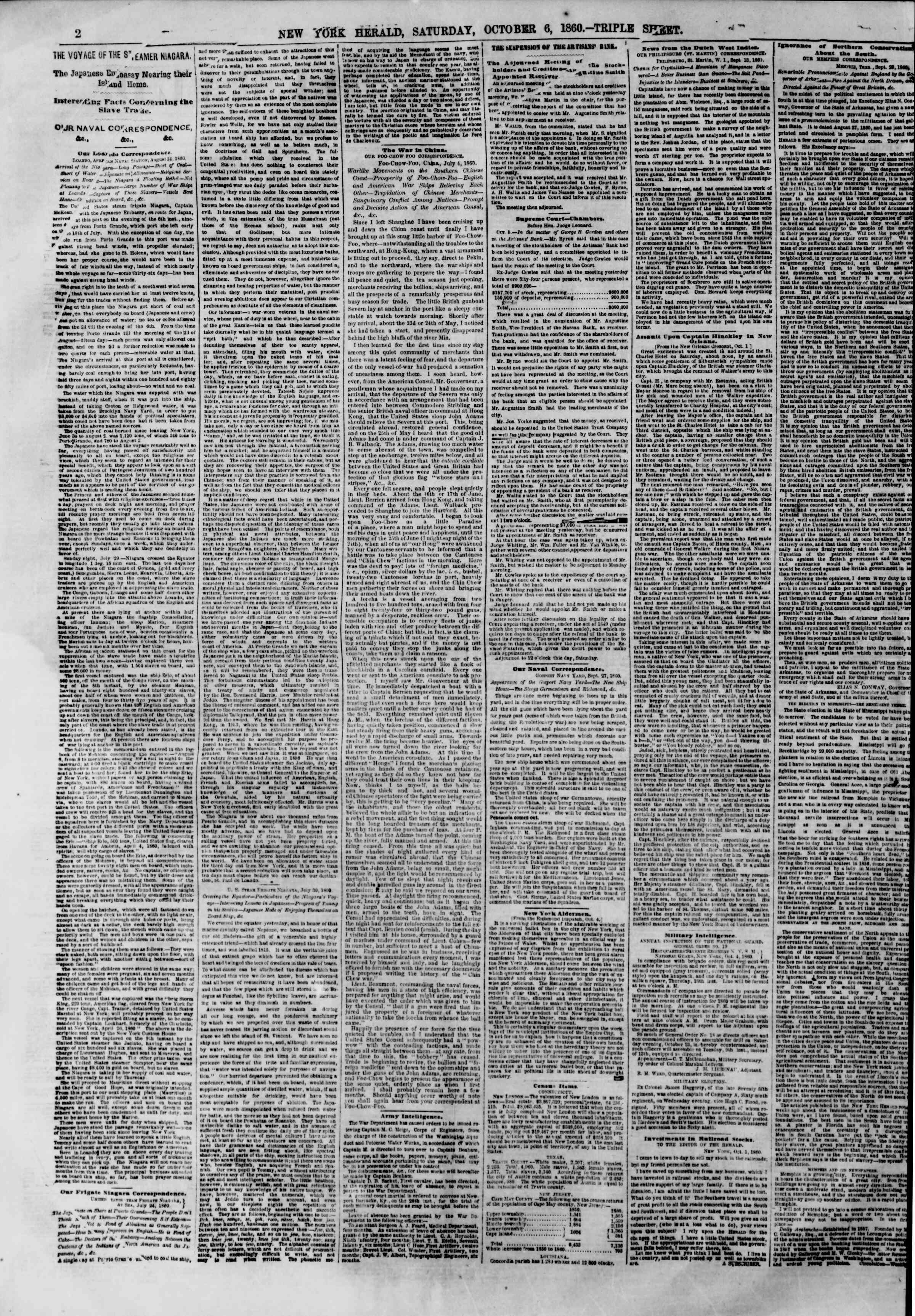 Newspaper of The New York Herald dated October 6, 1860 Page 2