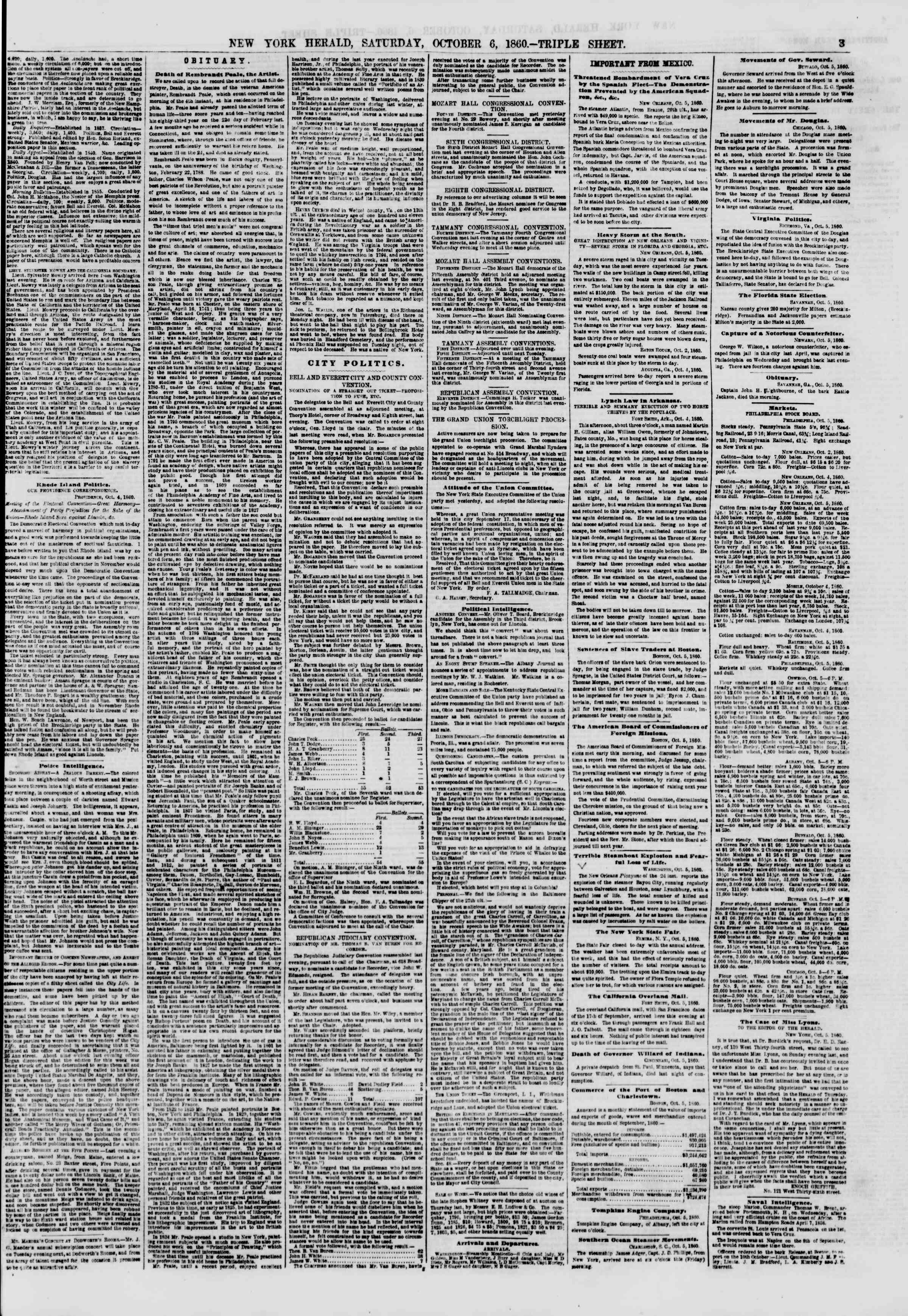 Newspaper of The New York Herald dated October 6, 1860 Page 3