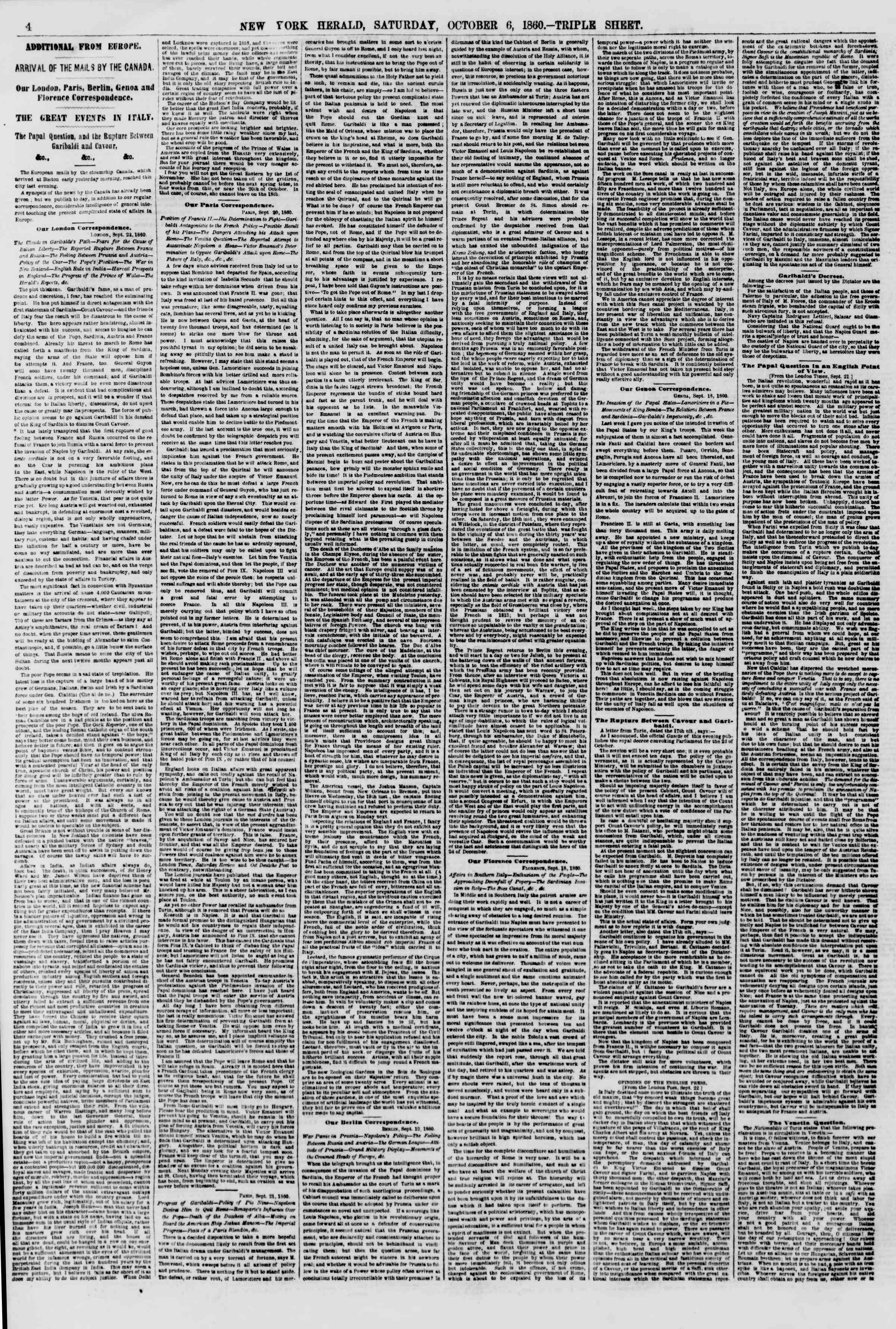 Newspaper of The New York Herald dated October 6, 1860 Page 4