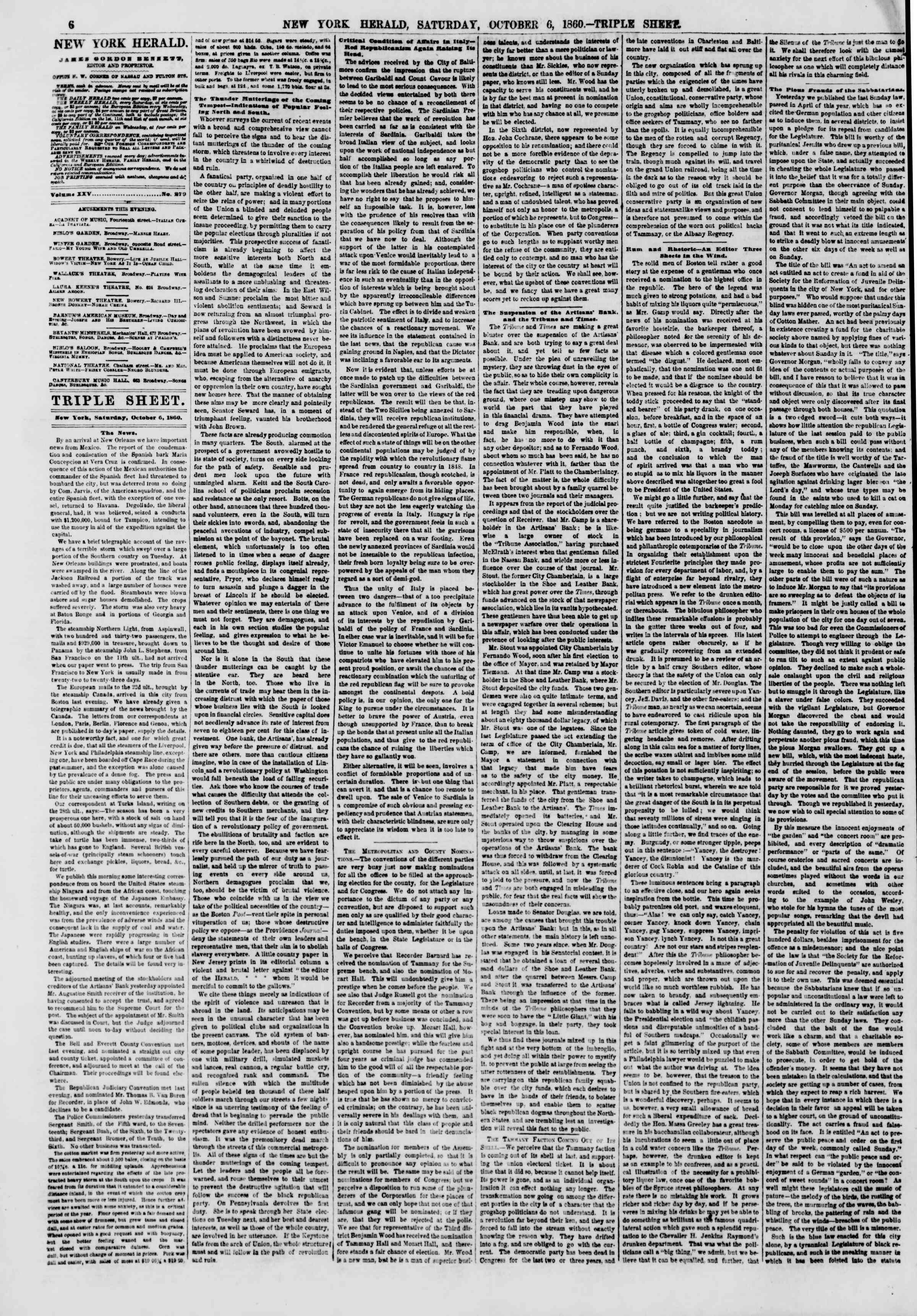 Newspaper of The New York Herald dated October 6, 1860 Page 6