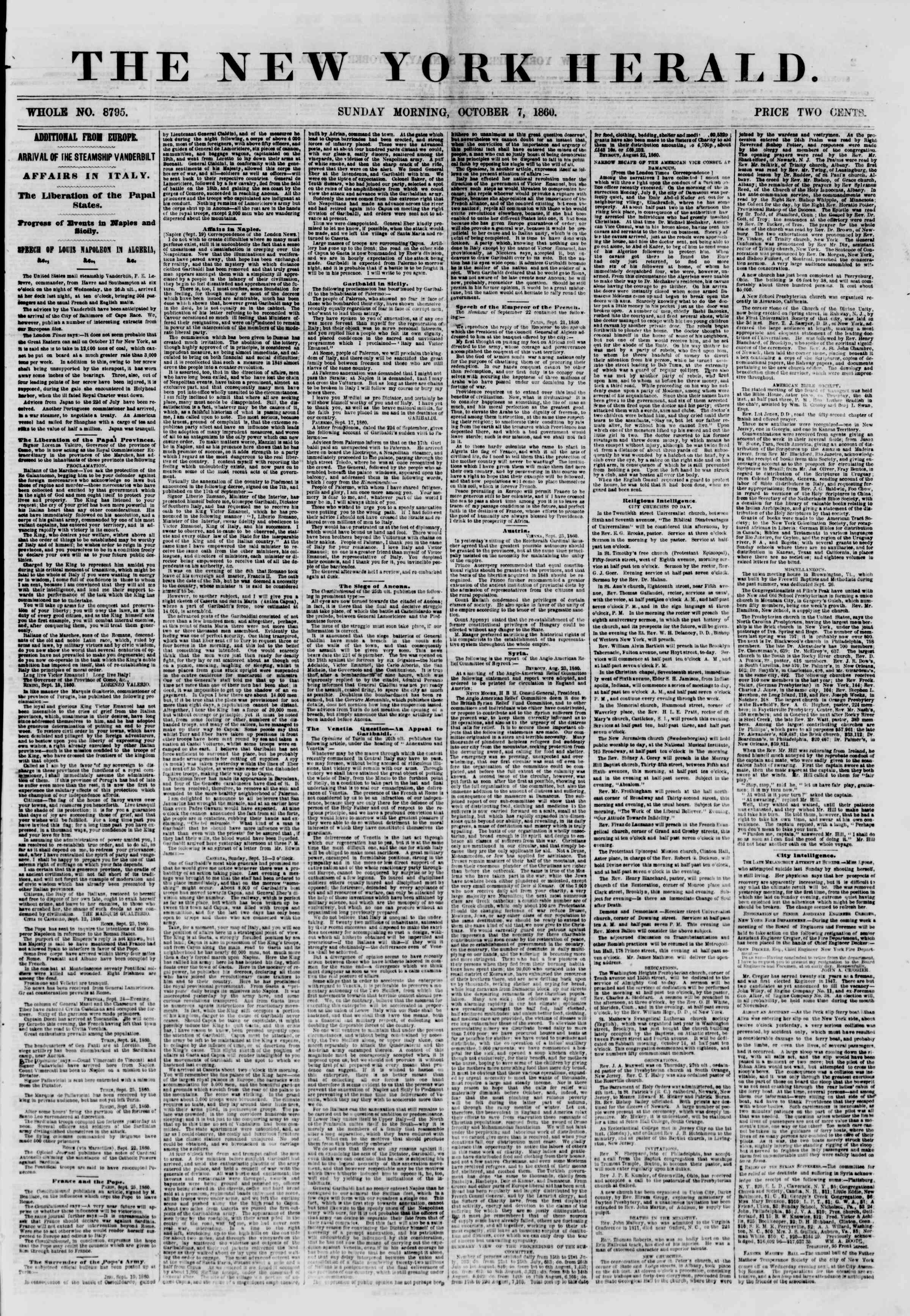 Newspaper of The New York Herald dated October 7, 1860 Page 1