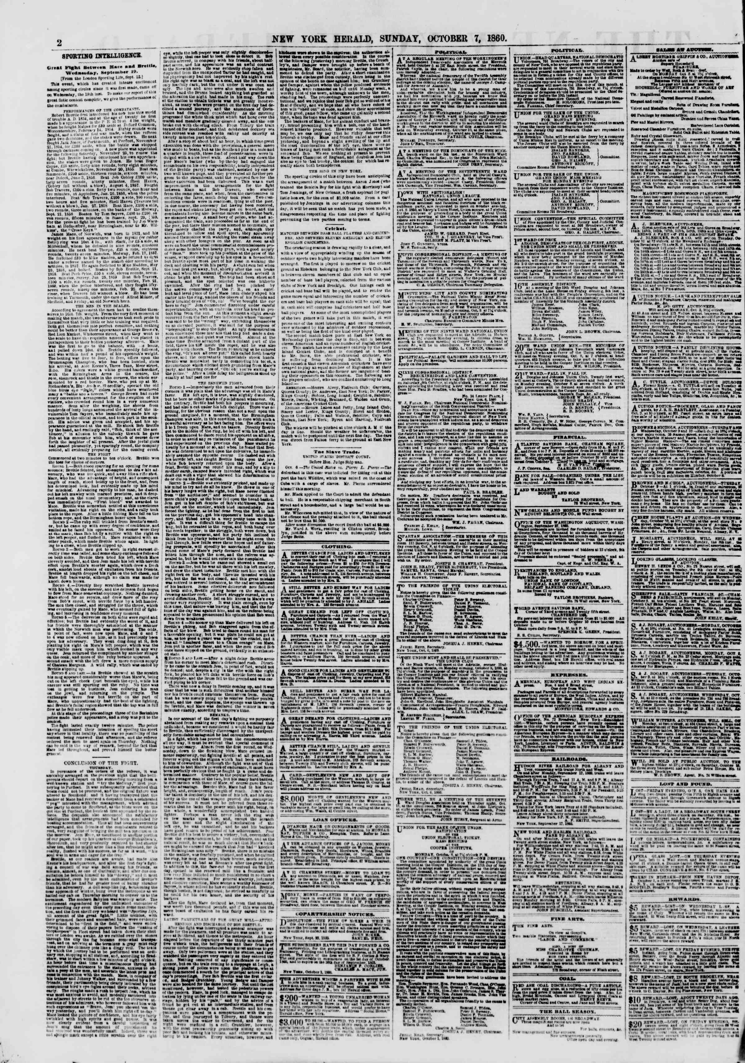 Newspaper of The New York Herald dated October 7, 1860 Page 2