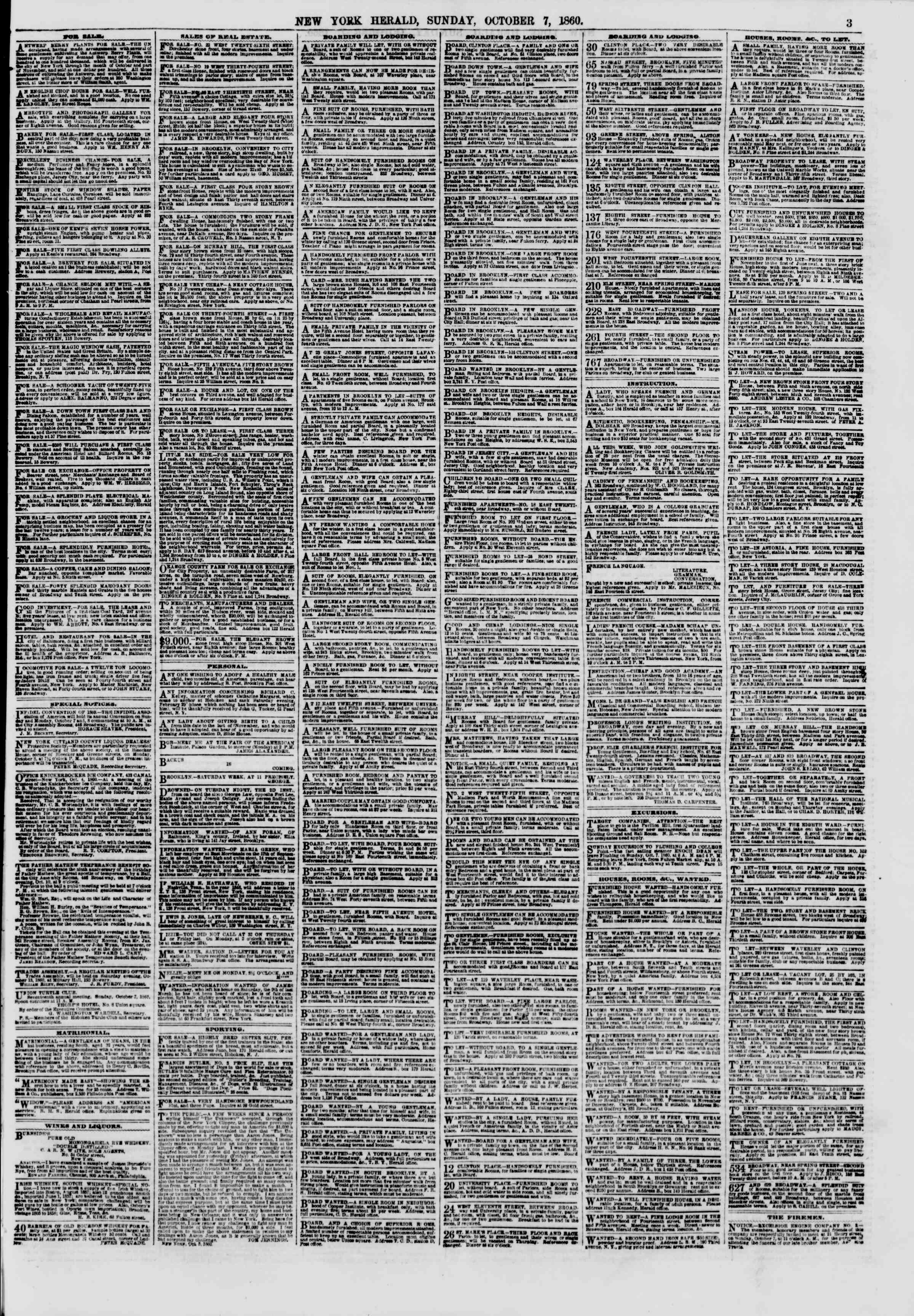 Newspaper of The New York Herald dated October 7, 1860 Page 3