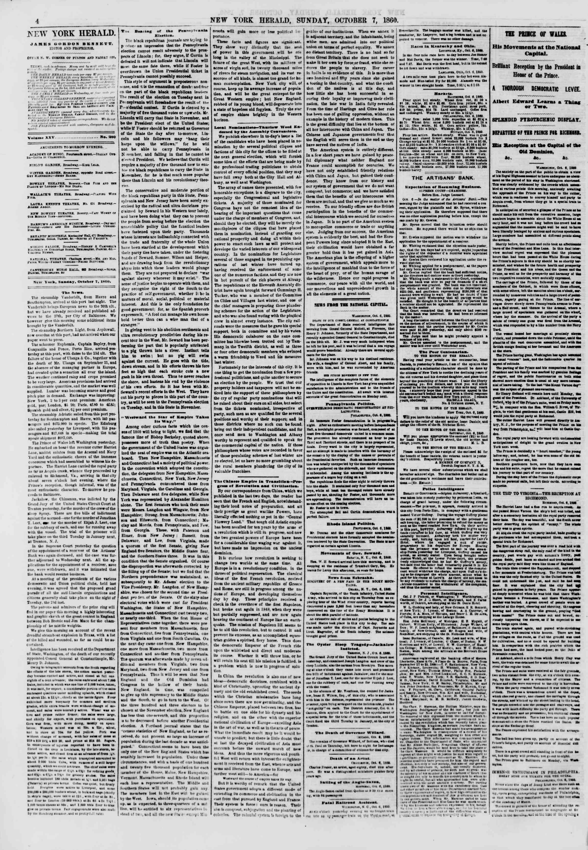 Newspaper of The New York Herald dated October 7, 1860 Page 4