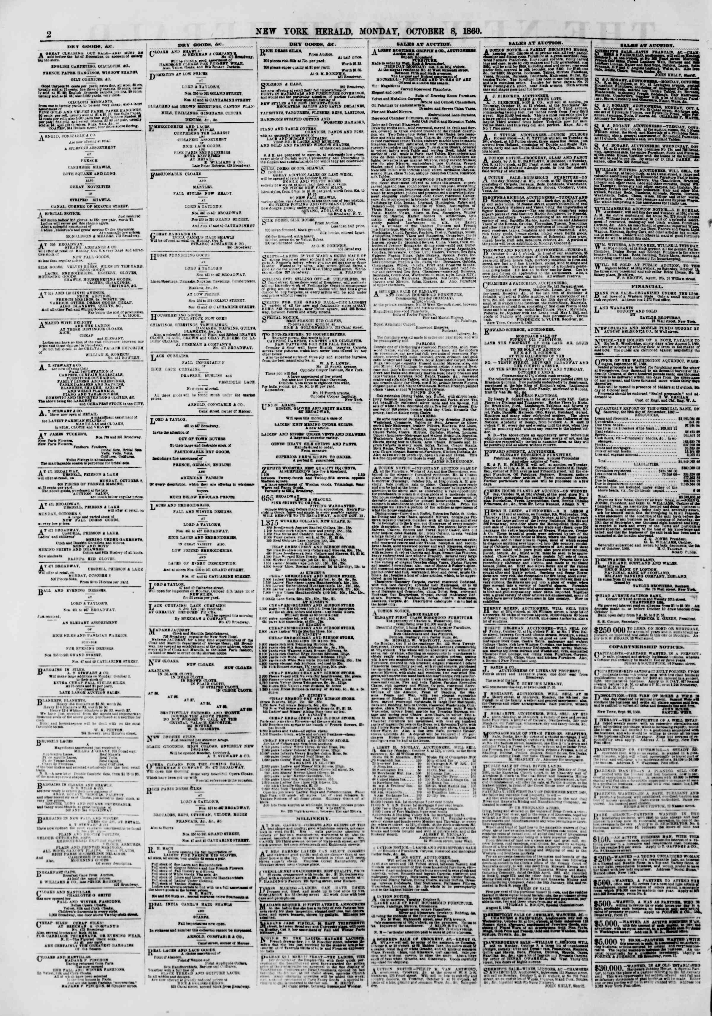 Newspaper of The New York Herald dated October 8, 1860 Page 2