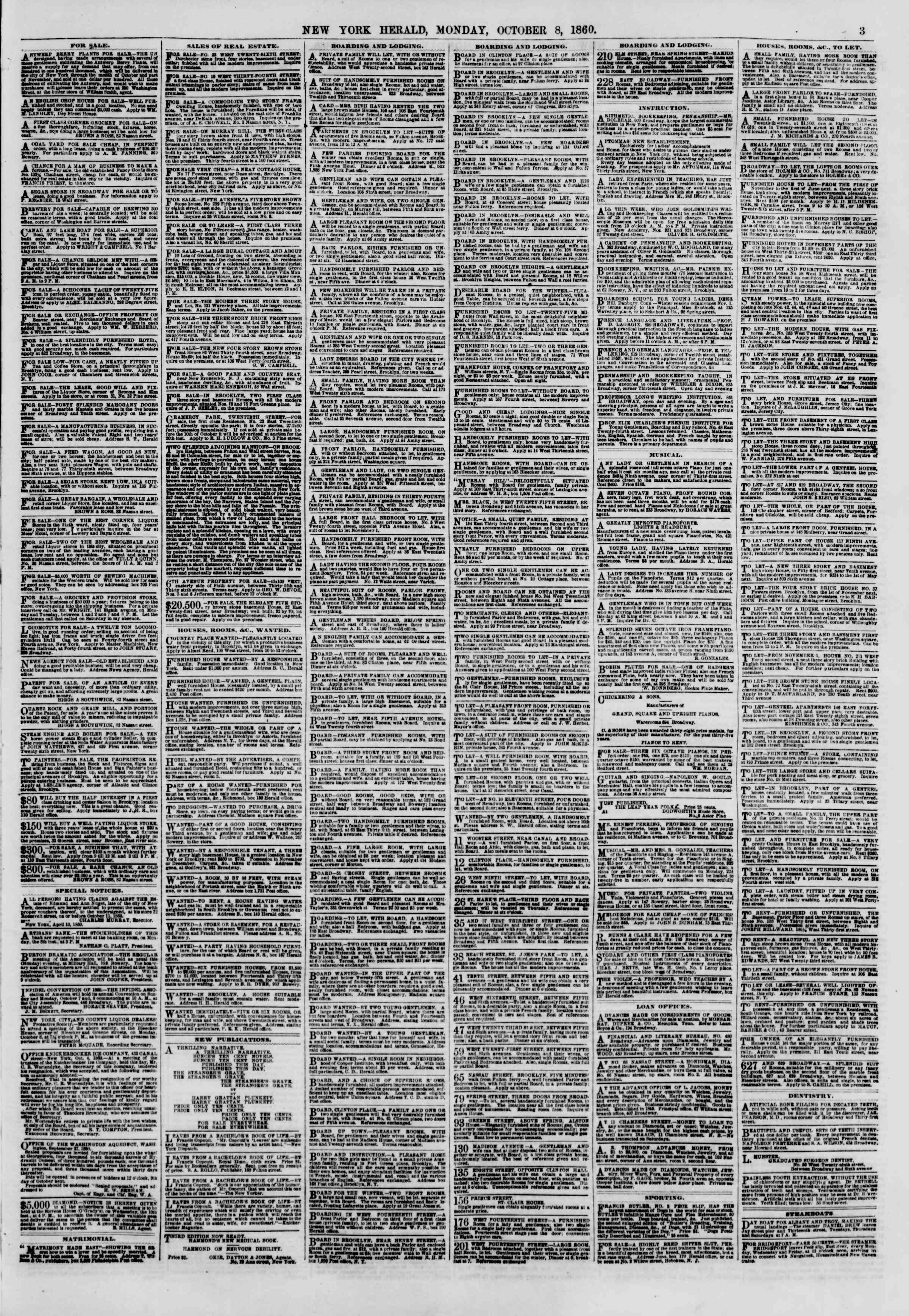Newspaper of The New York Herald dated October 8, 1860 Page 3
