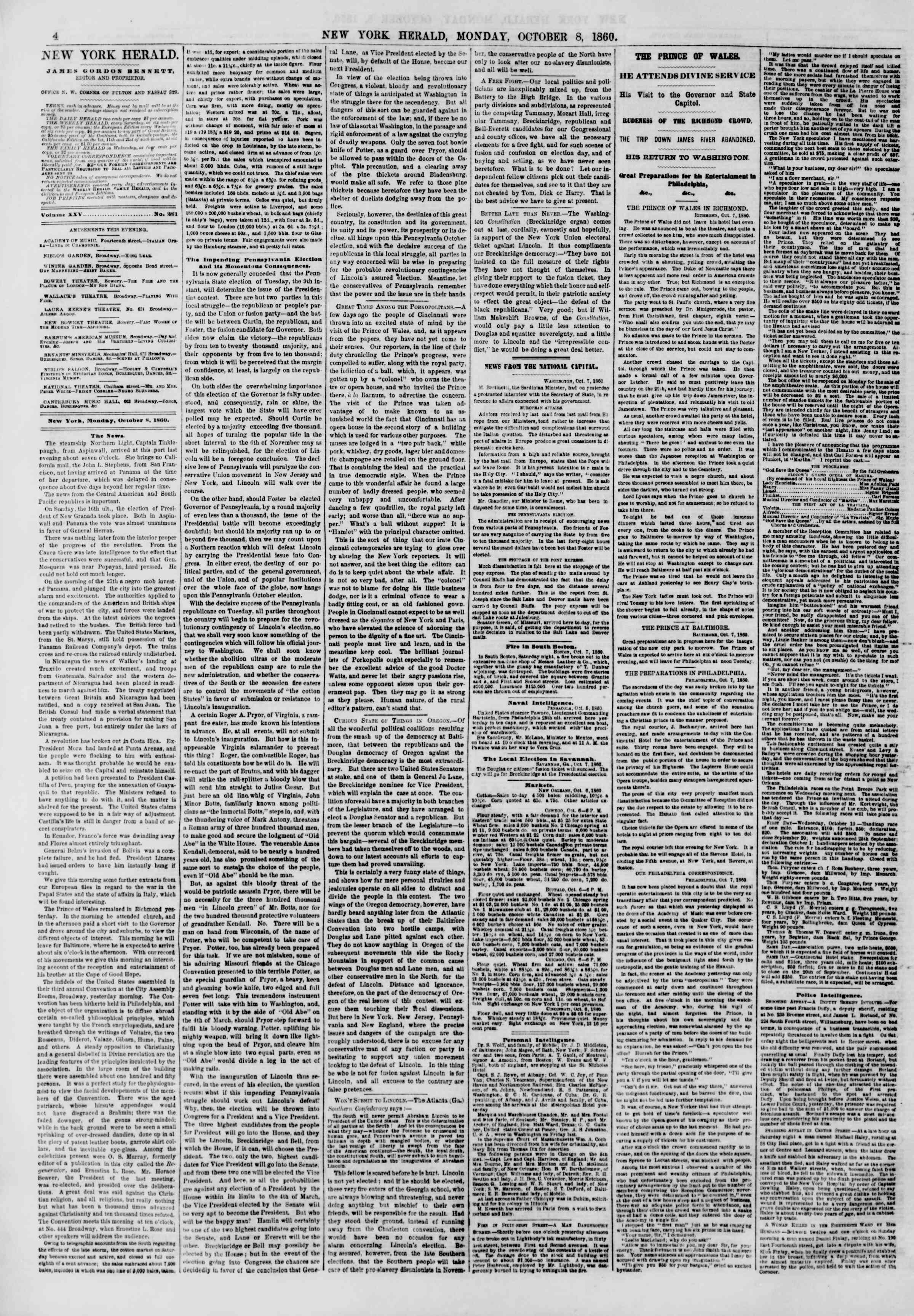 Newspaper of The New York Herald dated October 8, 1860 Page 4