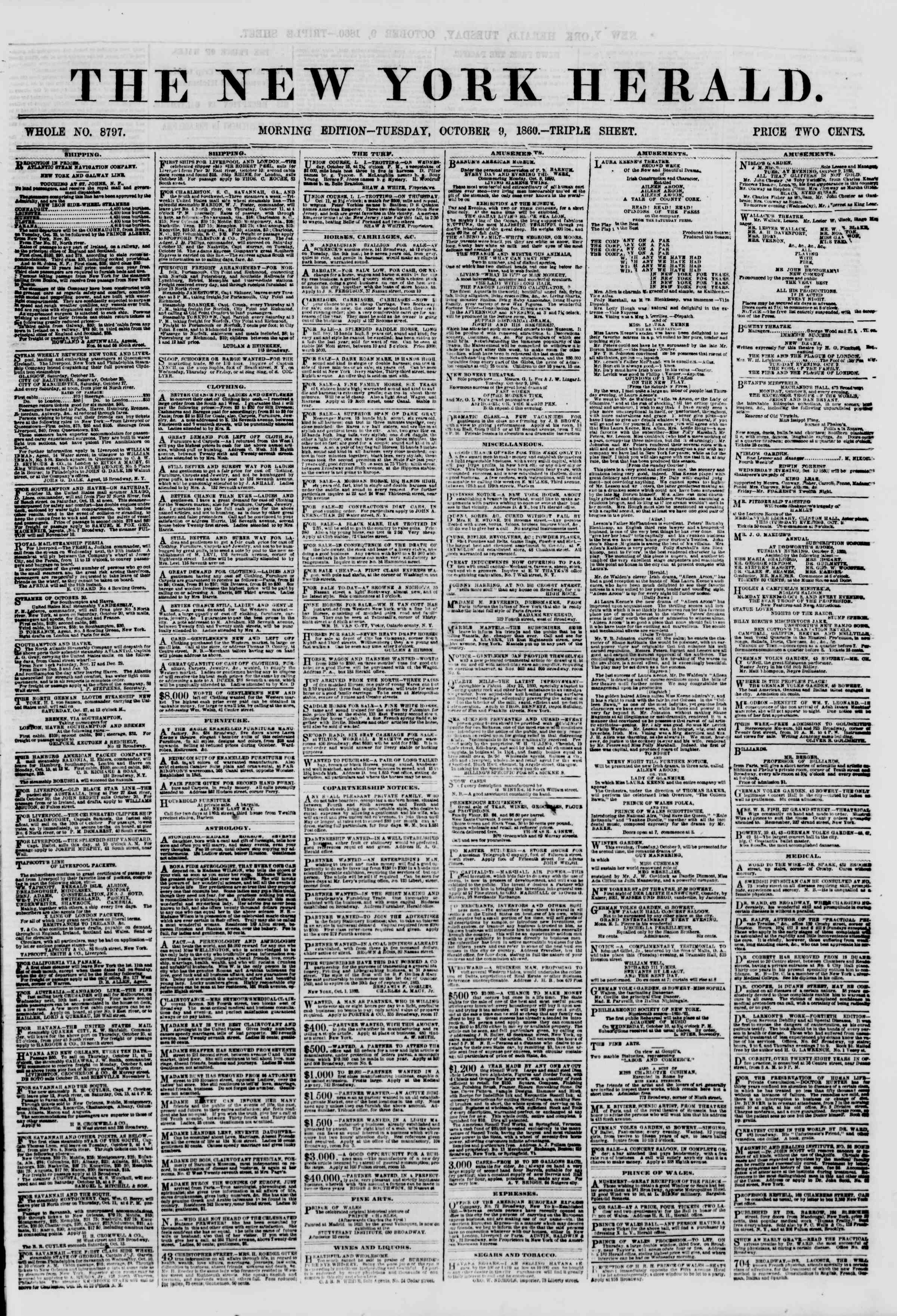 Newspaper of The New York Herald dated October 9, 1860 Page 1