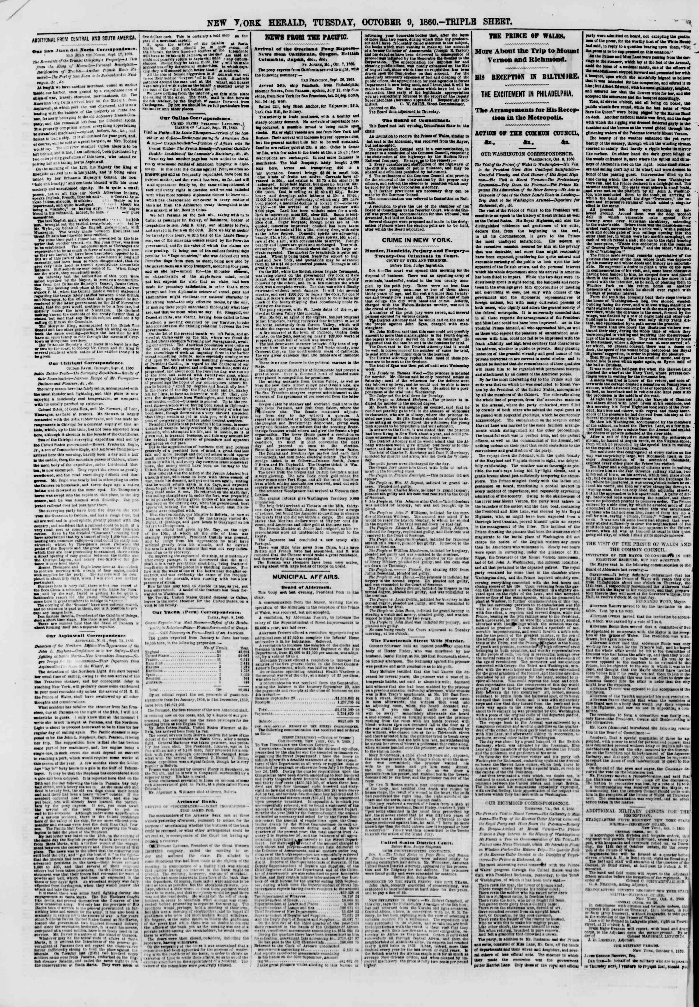 Newspaper of The New York Herald dated October 9, 1860 Page 2