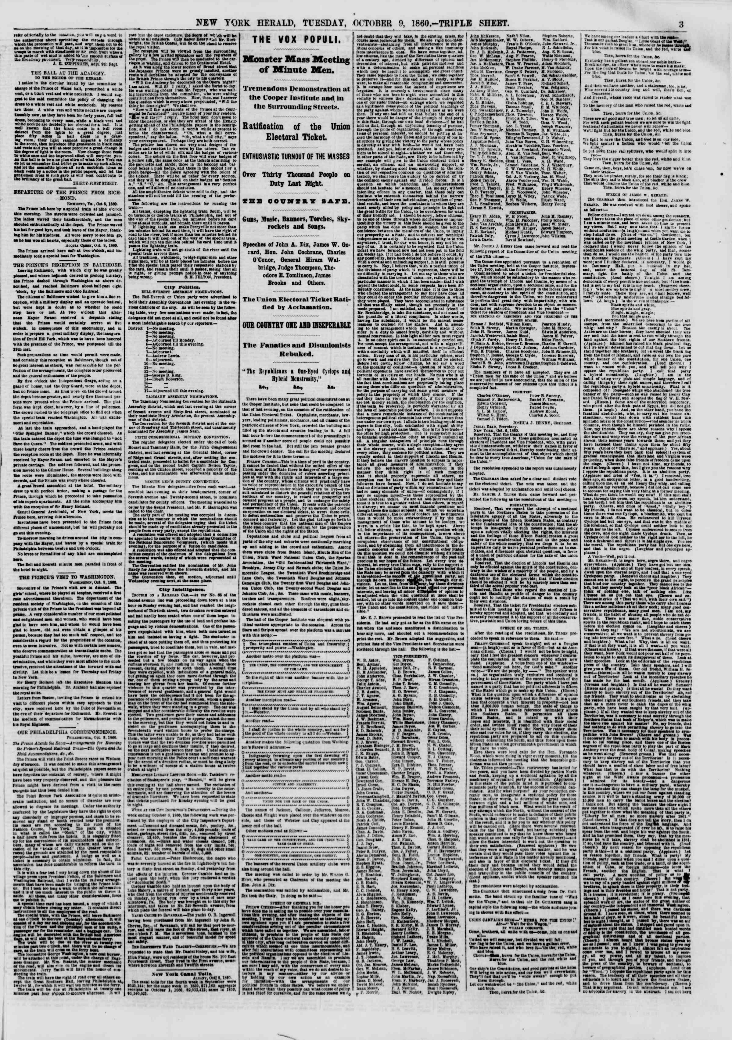 Newspaper of The New York Herald dated 9 Ekim 1860 Page 3
