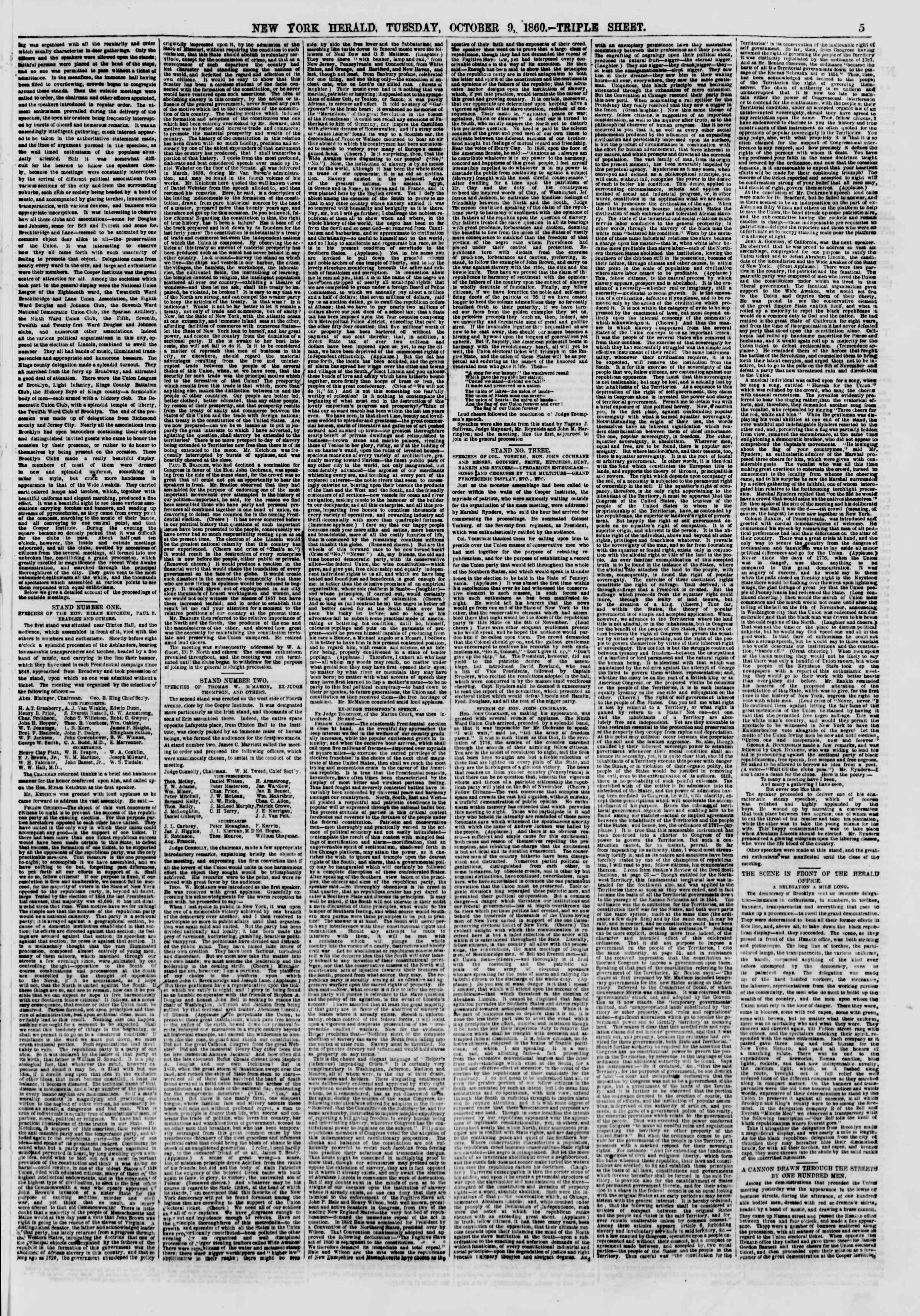 Newspaper of The New York Herald dated October 9, 1860 Page 5