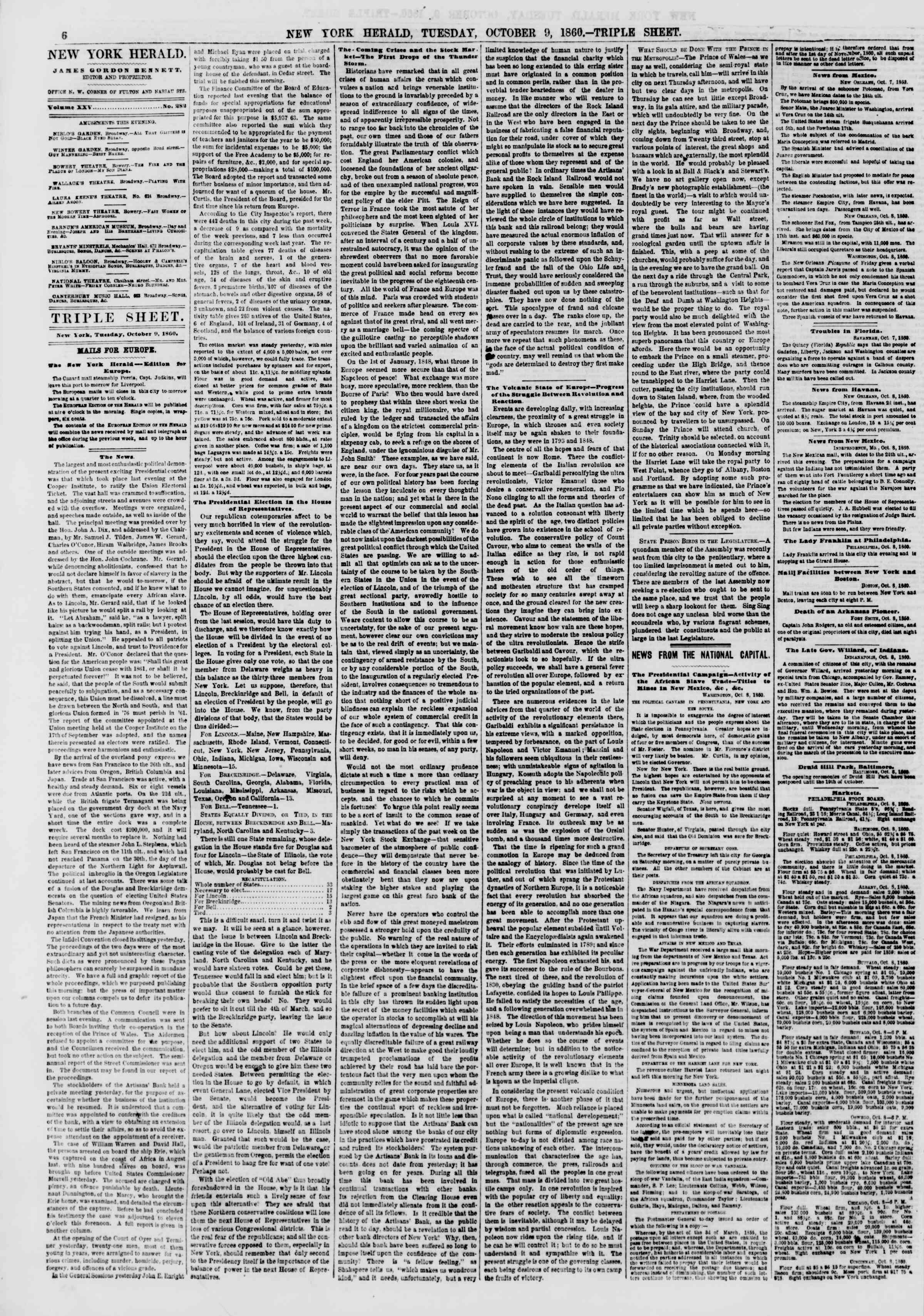 Newspaper of The New York Herald dated October 9, 1860 Page 6
