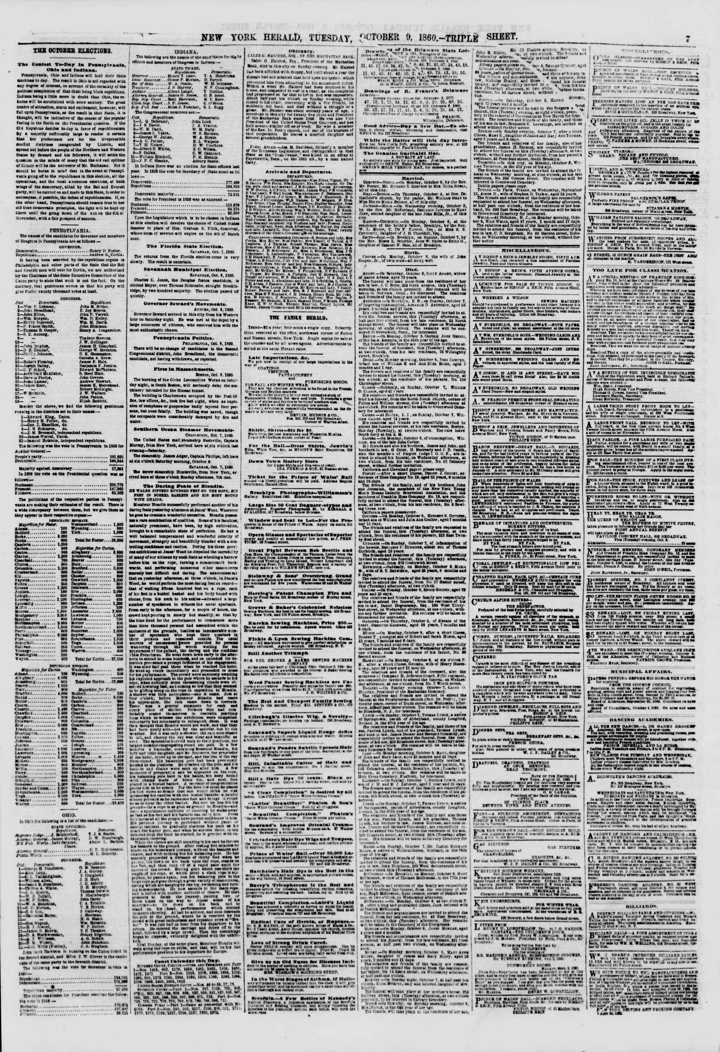Newspaper of The New York Herald dated October 9, 1860 Page 7