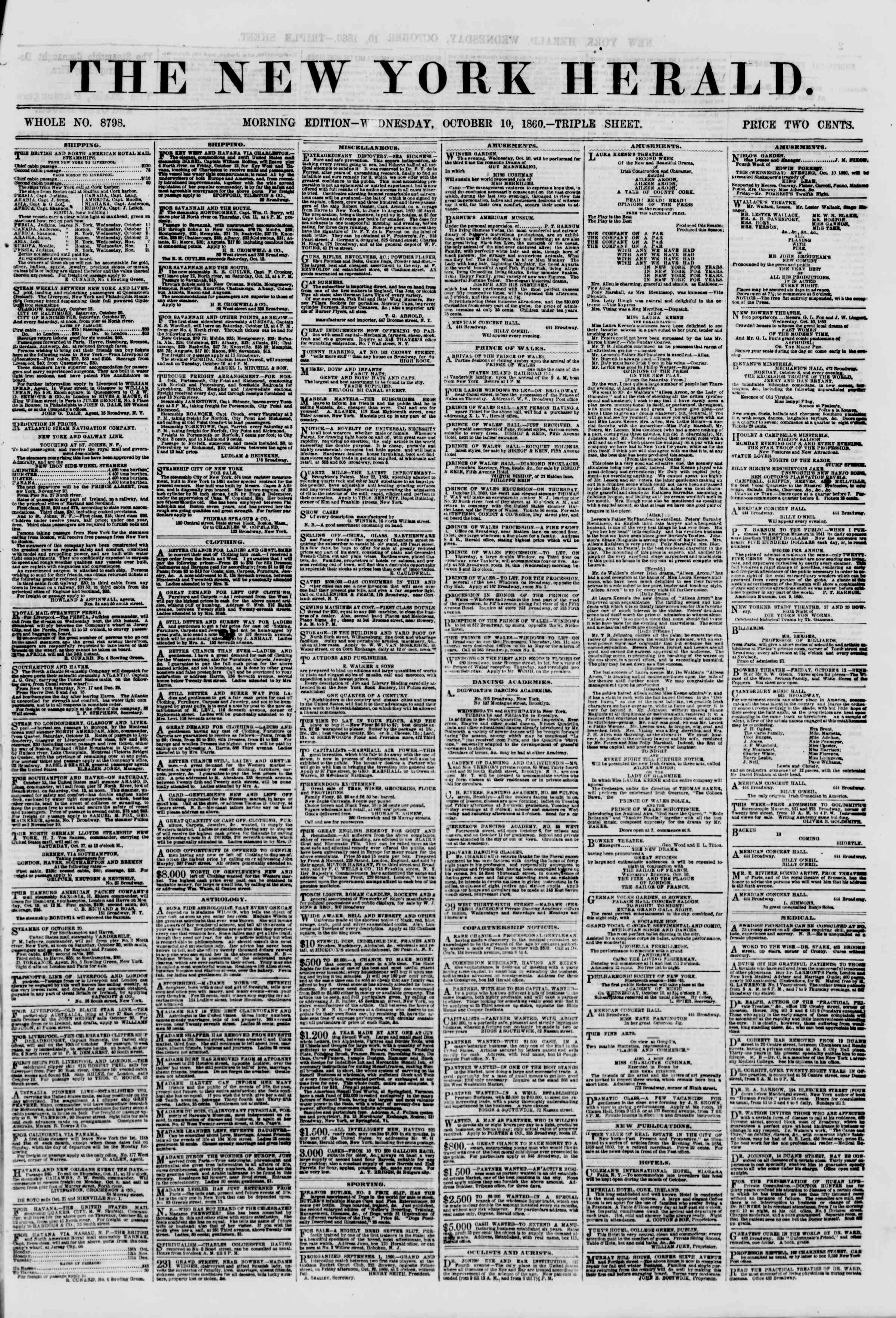 Newspaper of The New York Herald dated October 10, 1860 Page 1