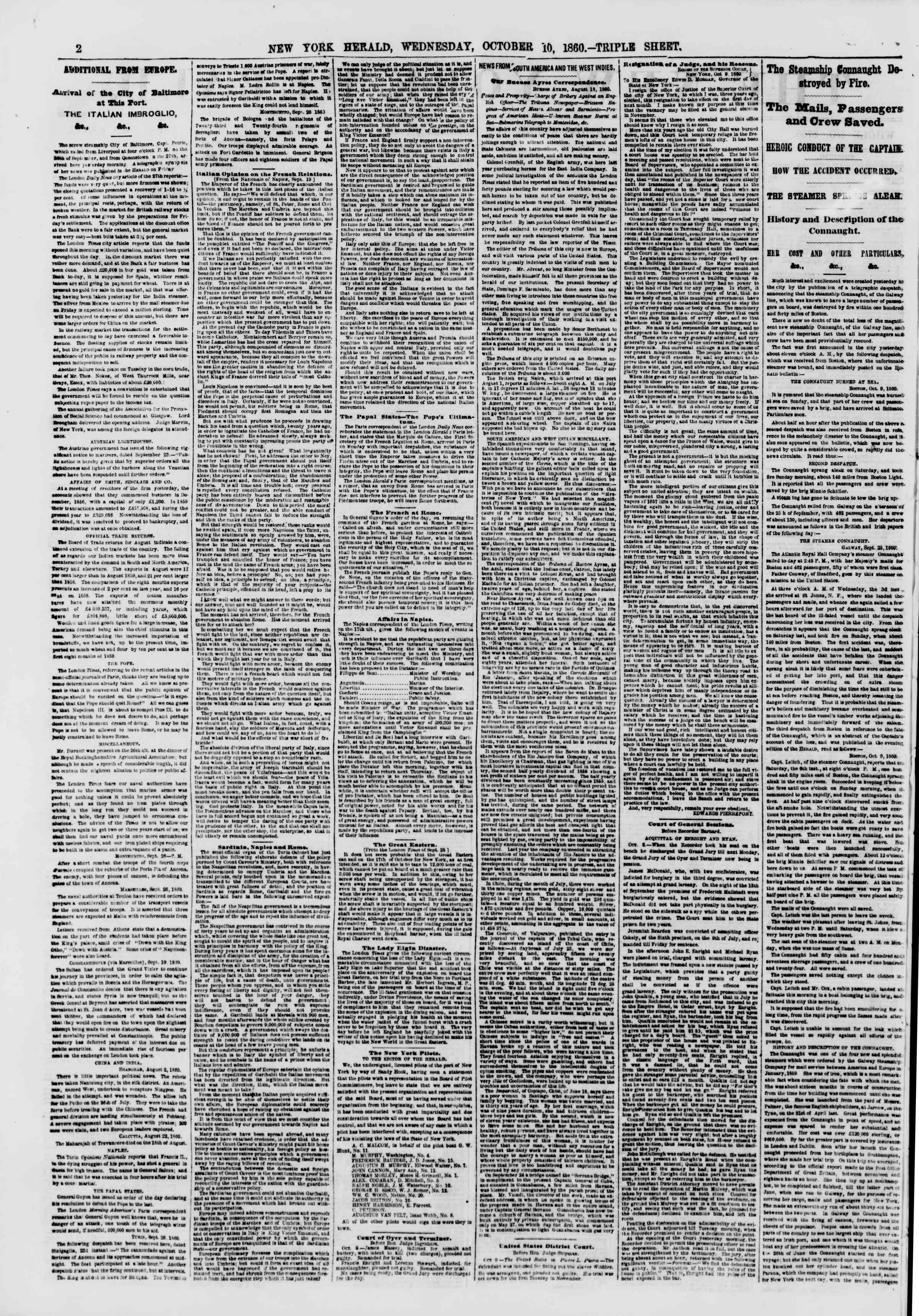 Newspaper of The New York Herald dated October 10, 1860 Page 2