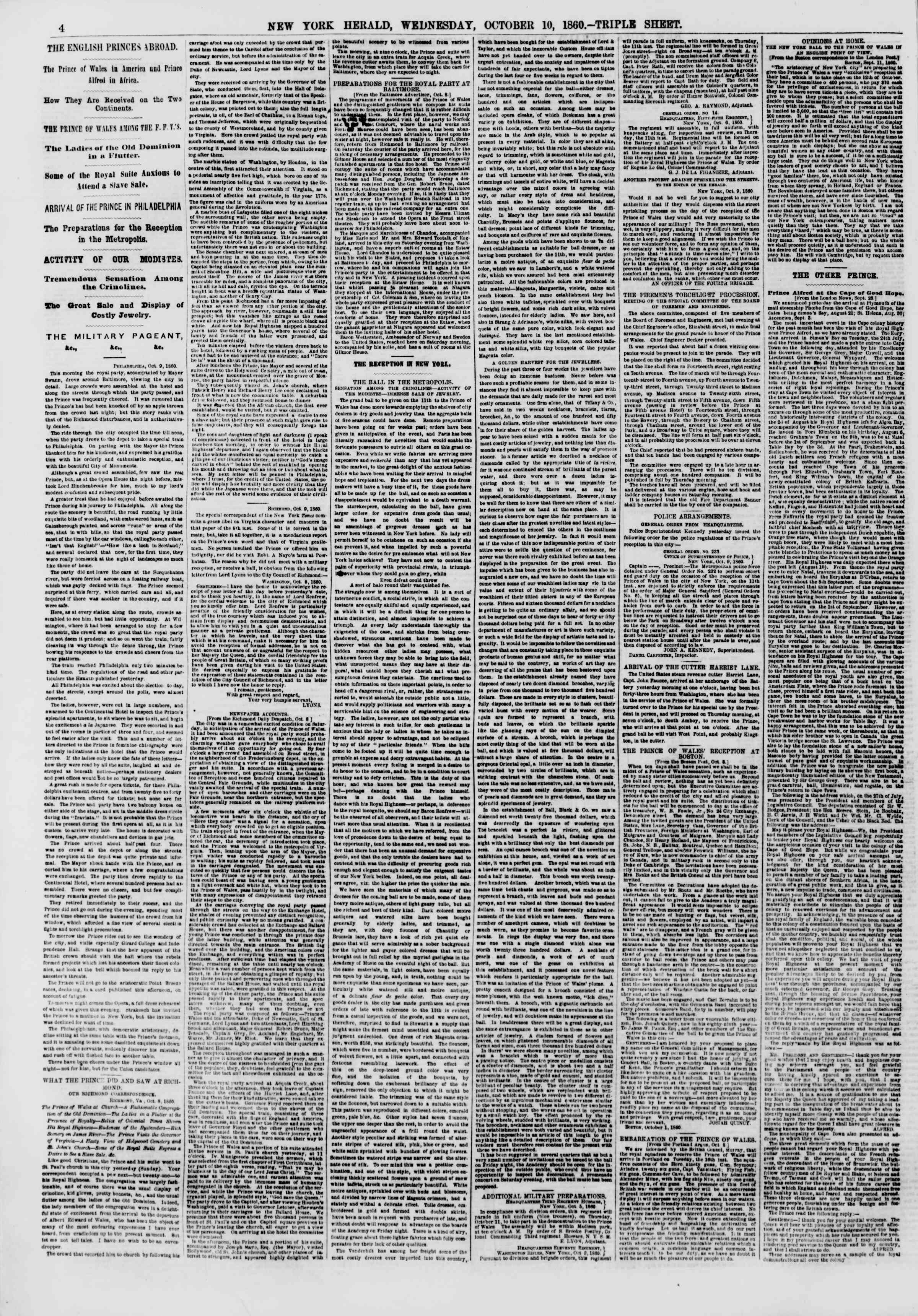 Newspaper of The New York Herald dated October 10, 1860 Page 4