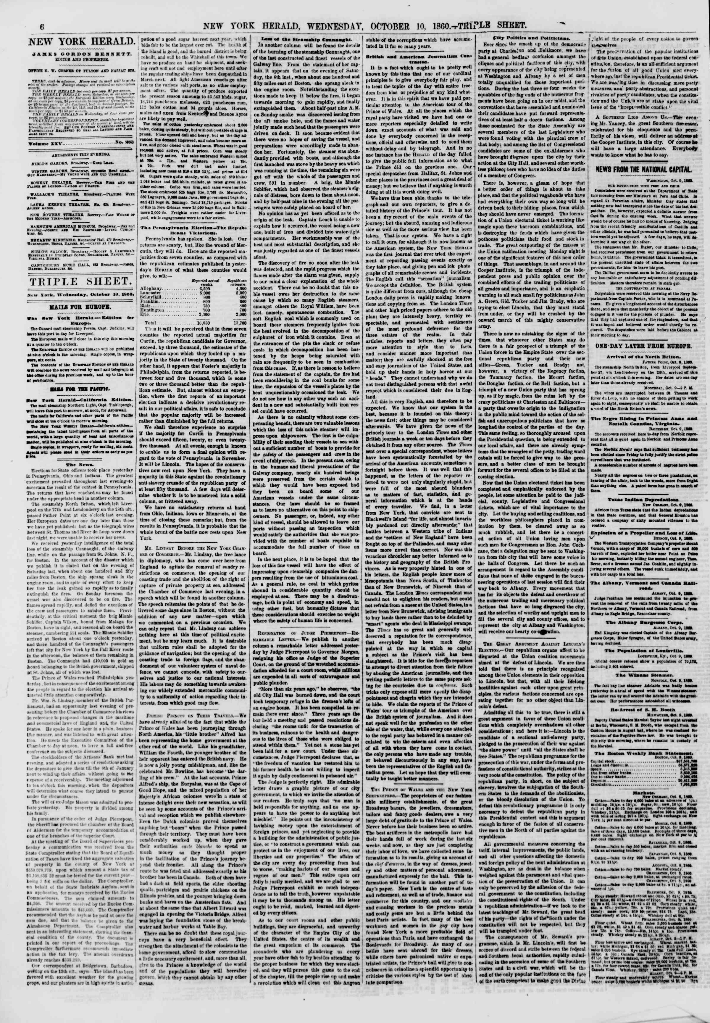 Newspaper of The New York Herald dated October 10, 1860 Page 6