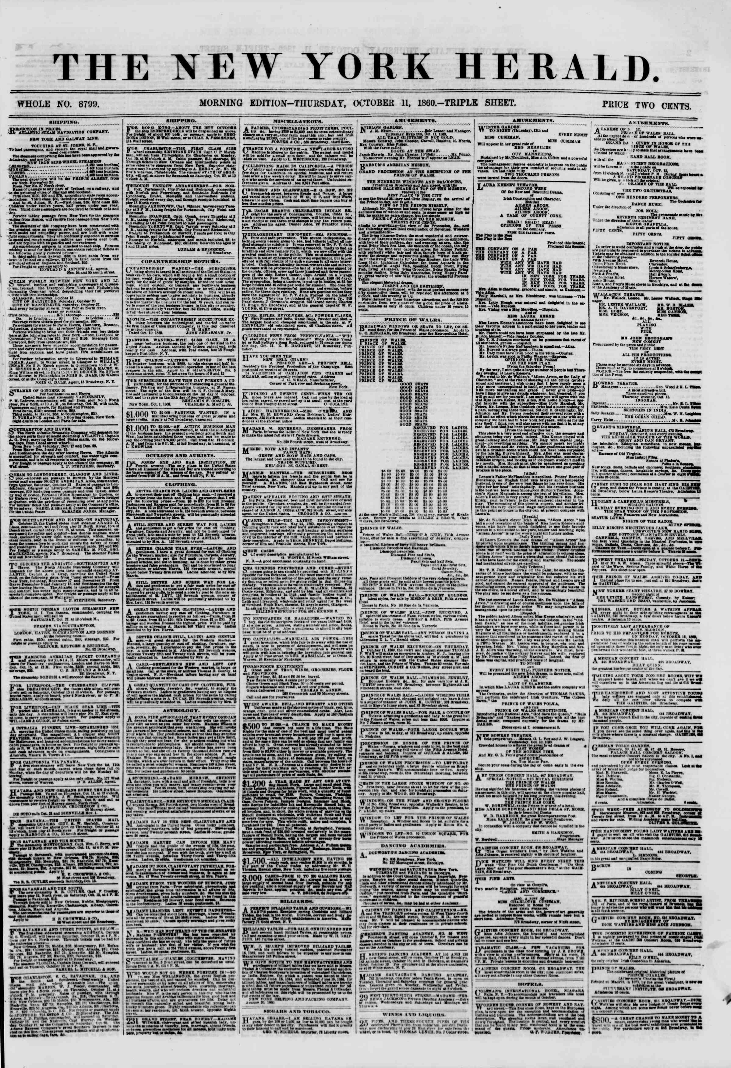 Newspaper of The New York Herald dated 11 Ekim 1860 Page 1