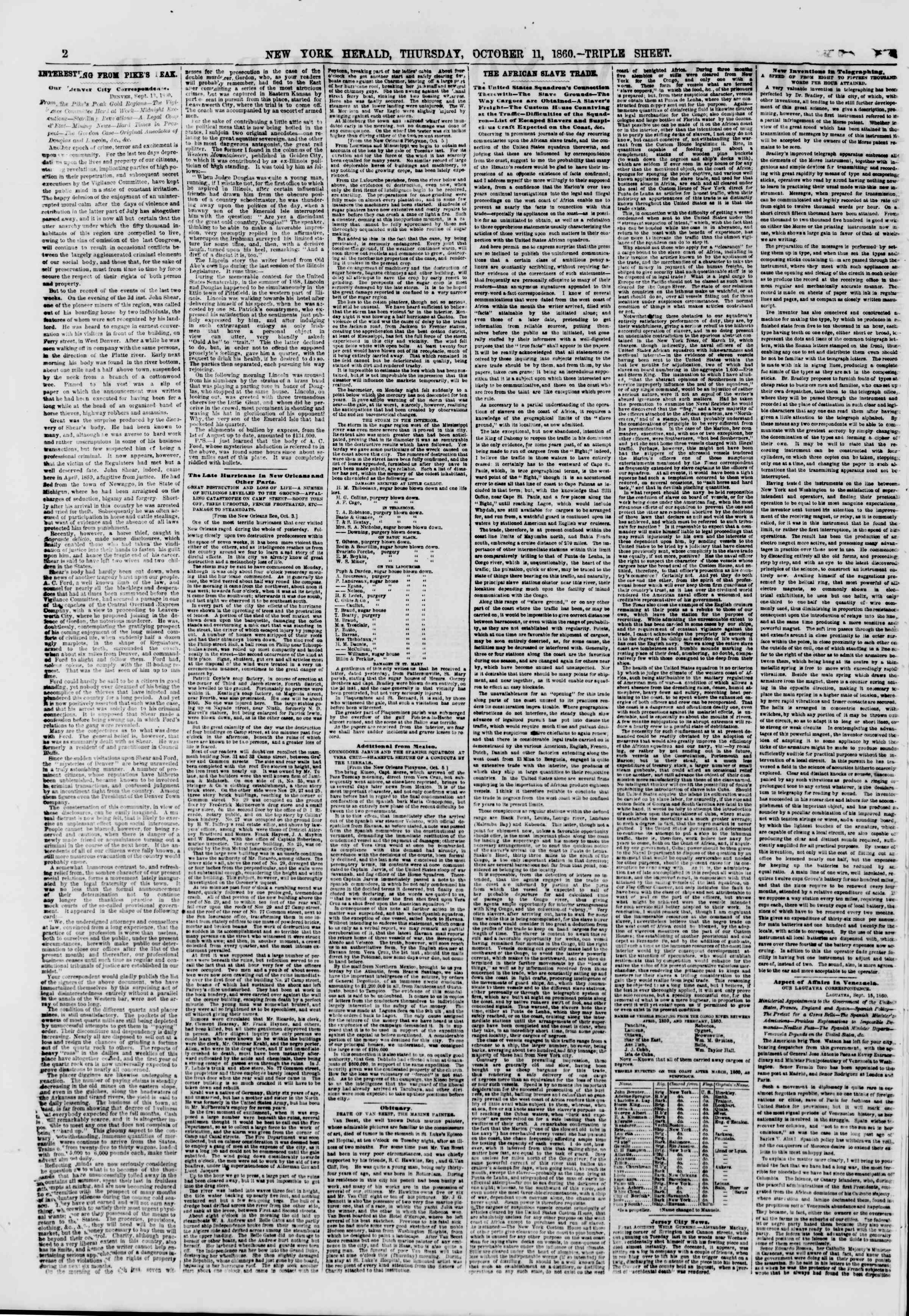 Newspaper of The New York Herald dated October 11, 1860 Page 2