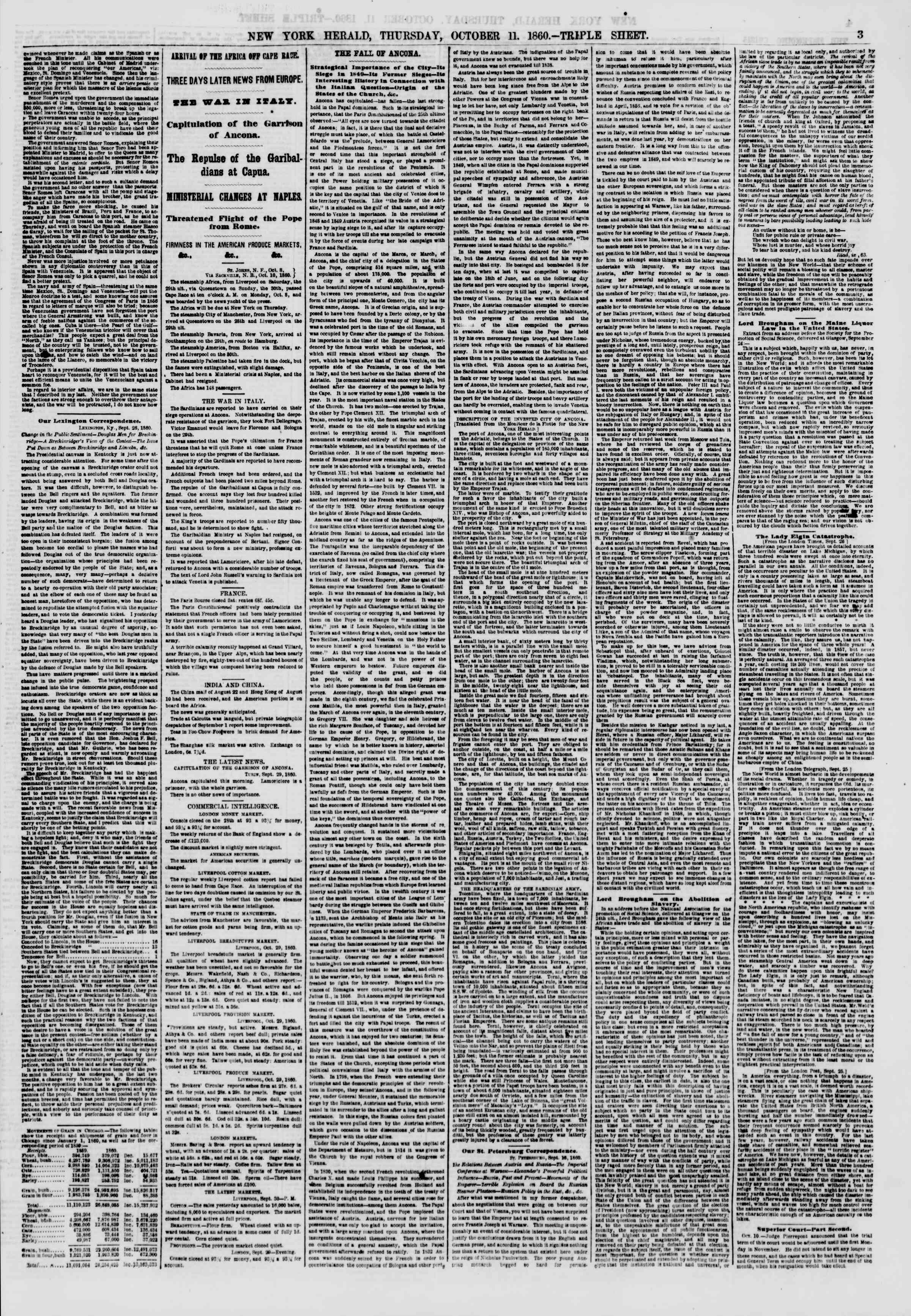 Newspaper of The New York Herald dated October 11, 1860 Page 3