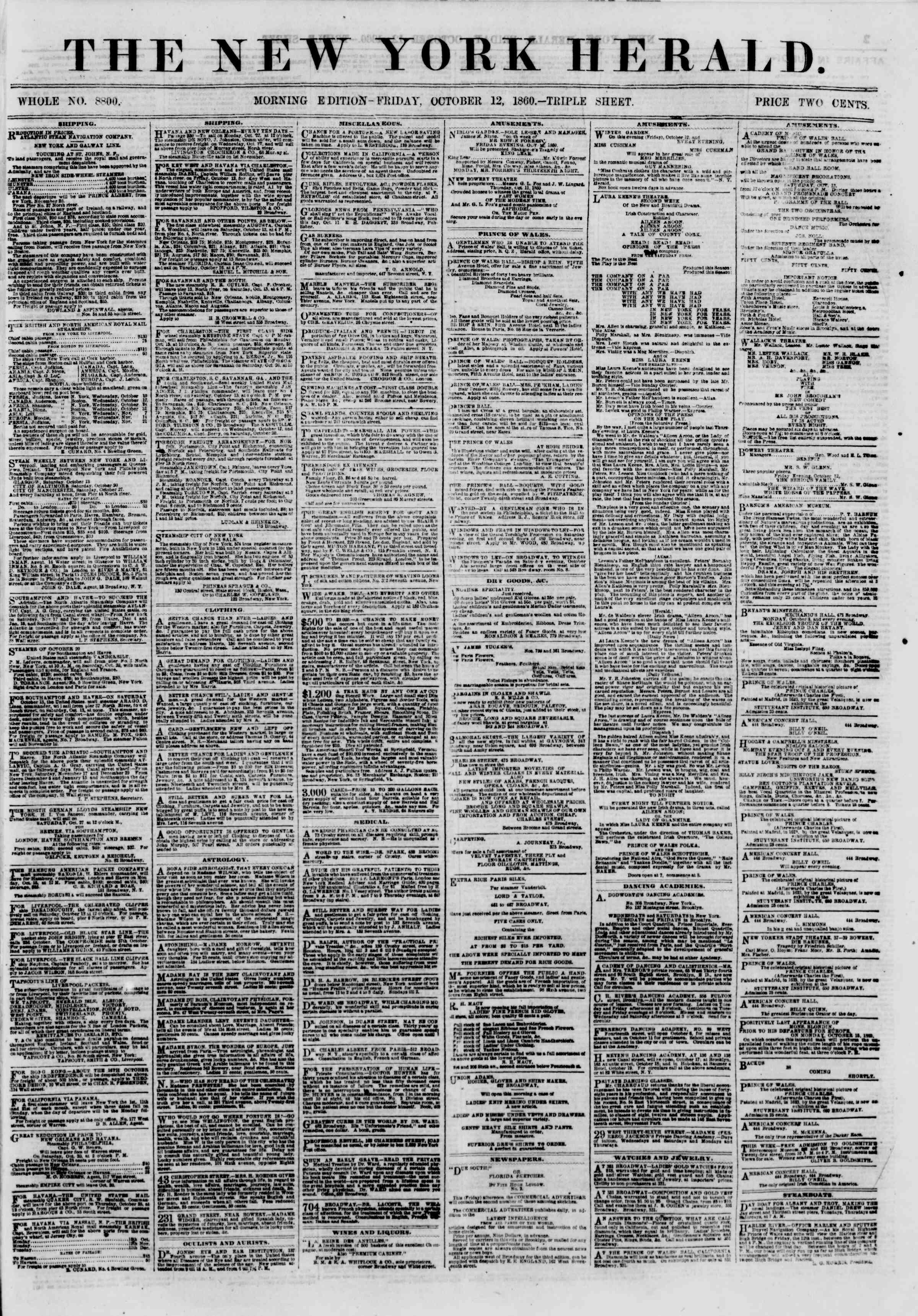 Newspaper of The New York Herald dated October 12, 1860 Page 1