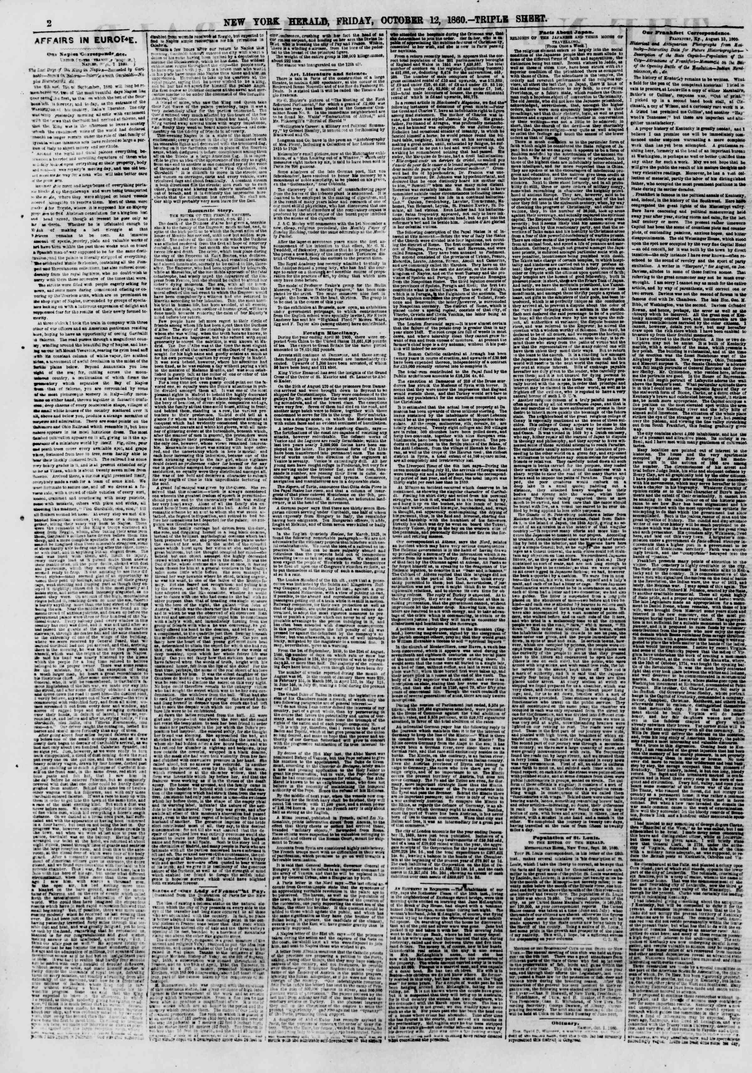 Newspaper of The New York Herald dated October 12, 1860 Page 2