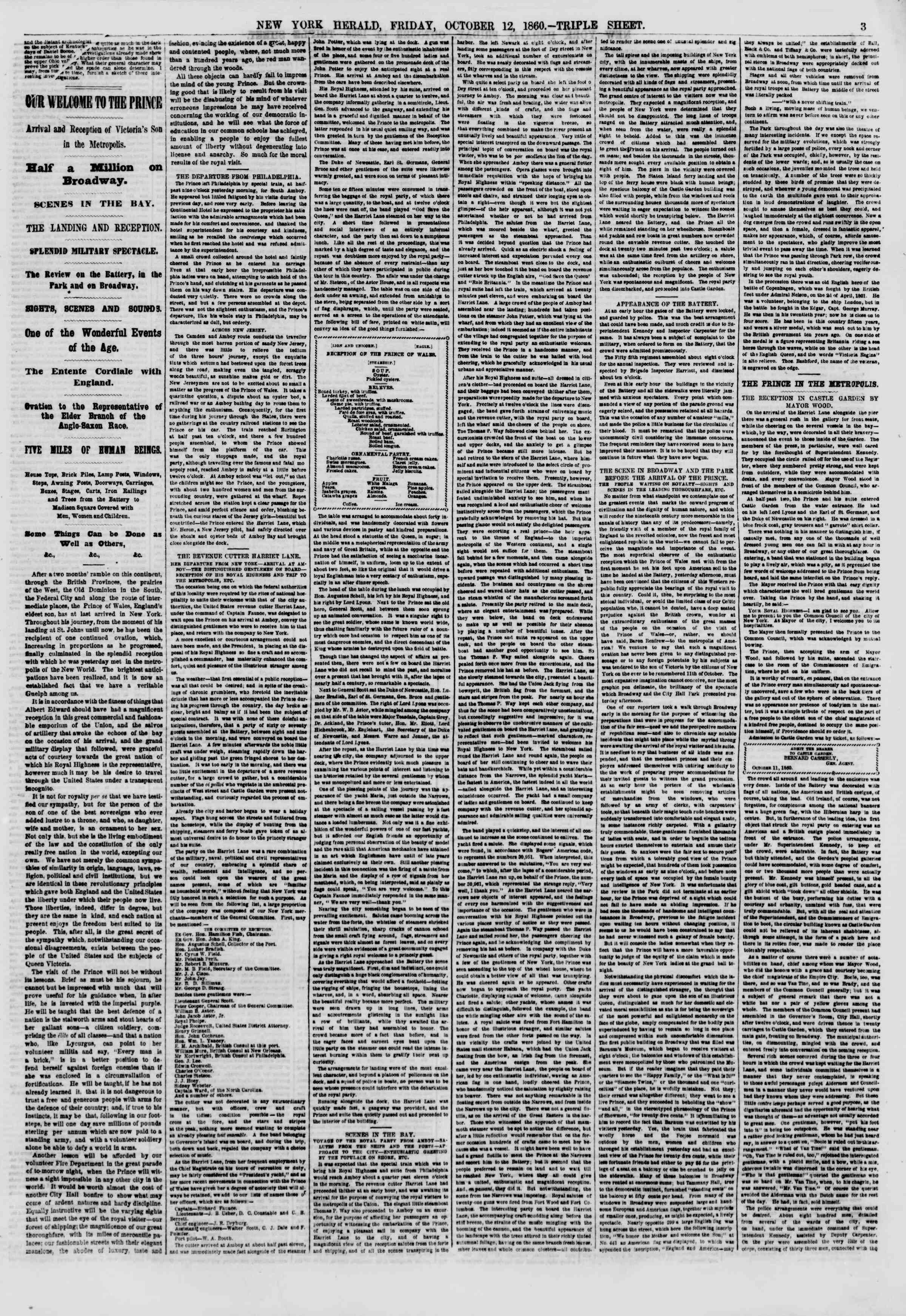 Newspaper of The New York Herald dated October 12, 1860 Page 3