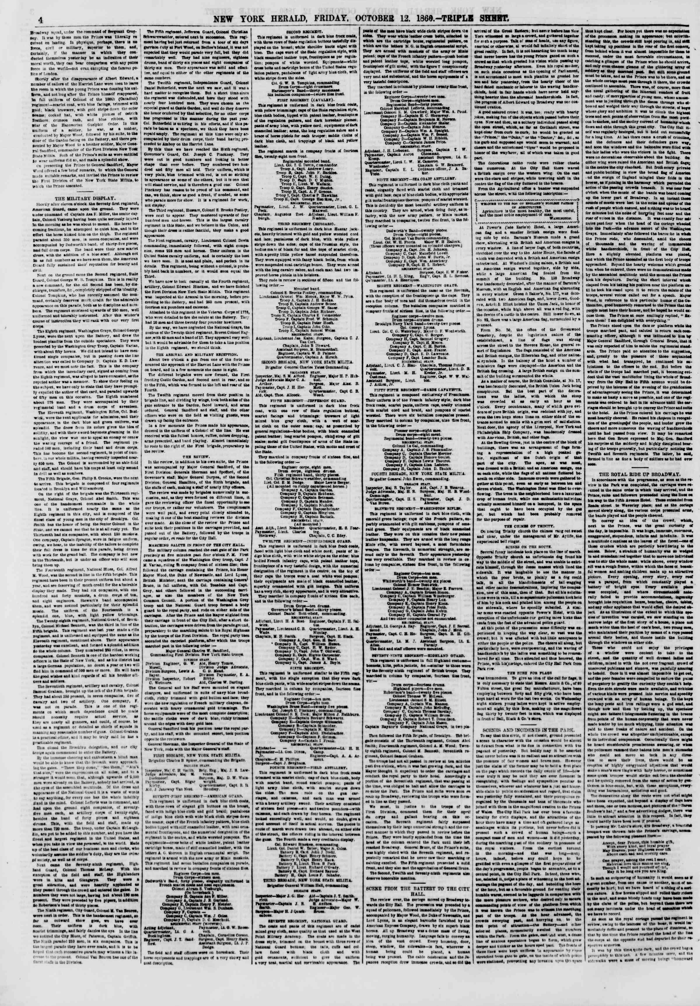 Newspaper of The New York Herald dated October 12, 1860 Page 4