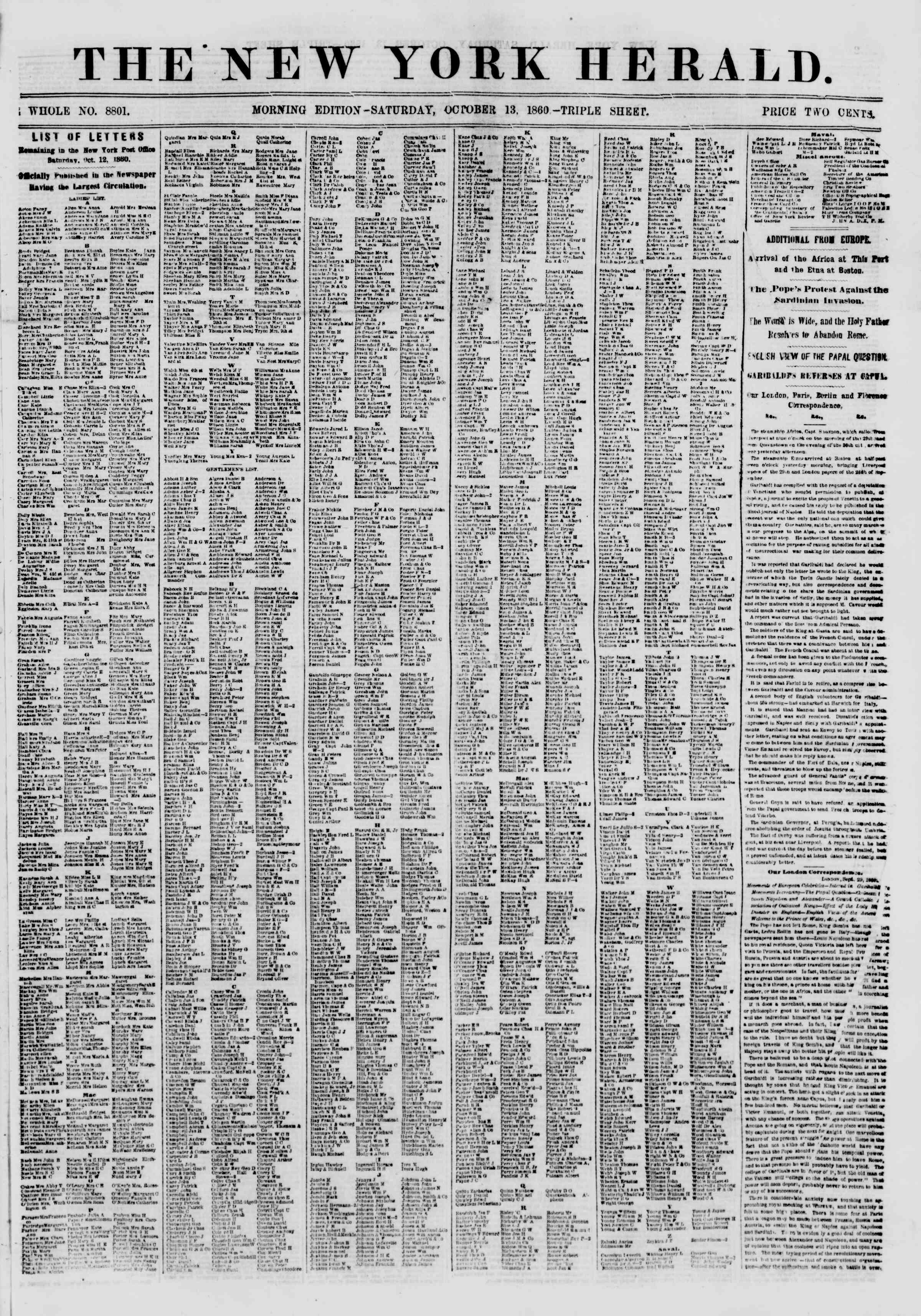 Newspaper of The New York Herald dated October 13, 1860 Page 1