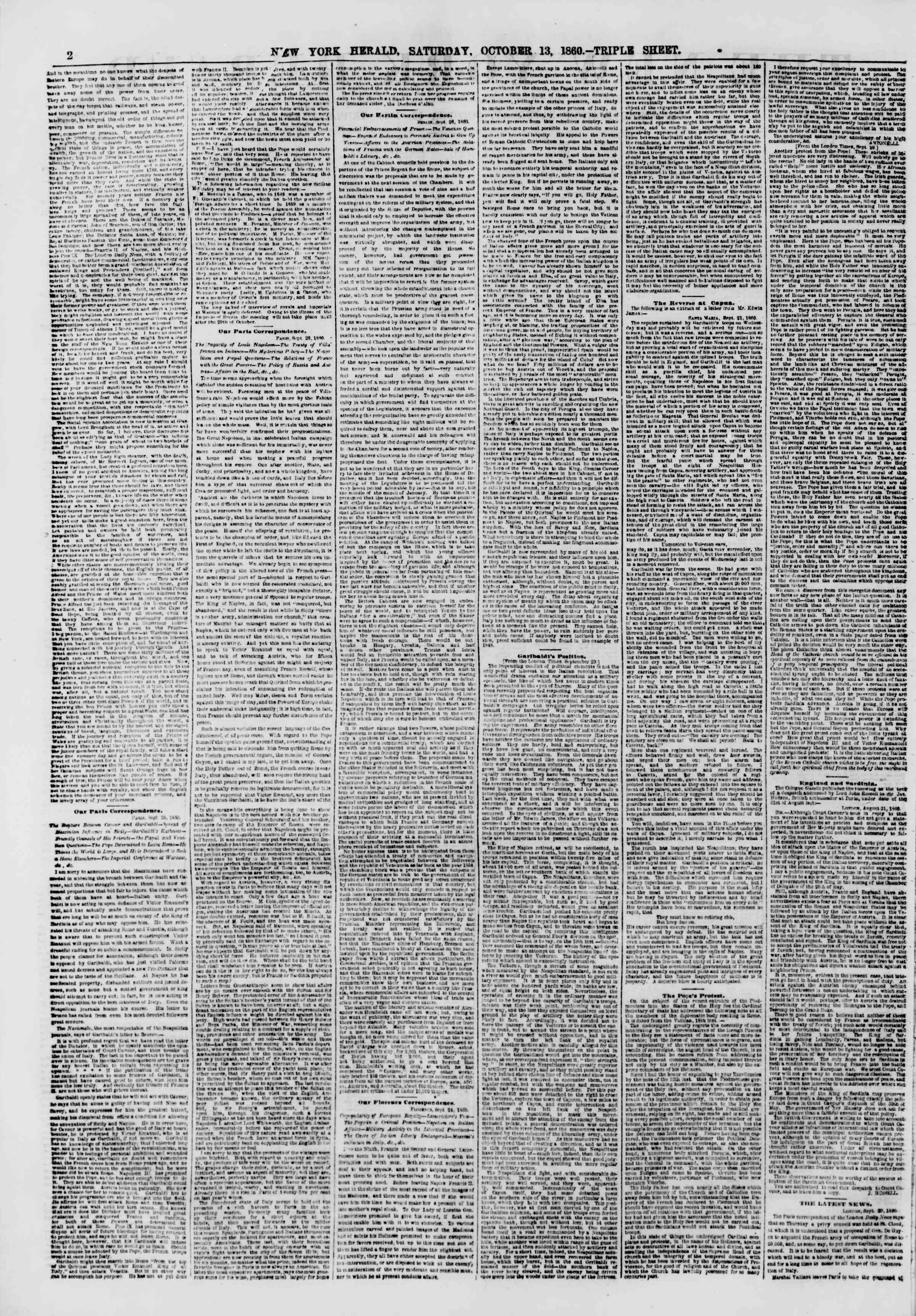 Newspaper of The New York Herald dated October 13, 1860 Page 2