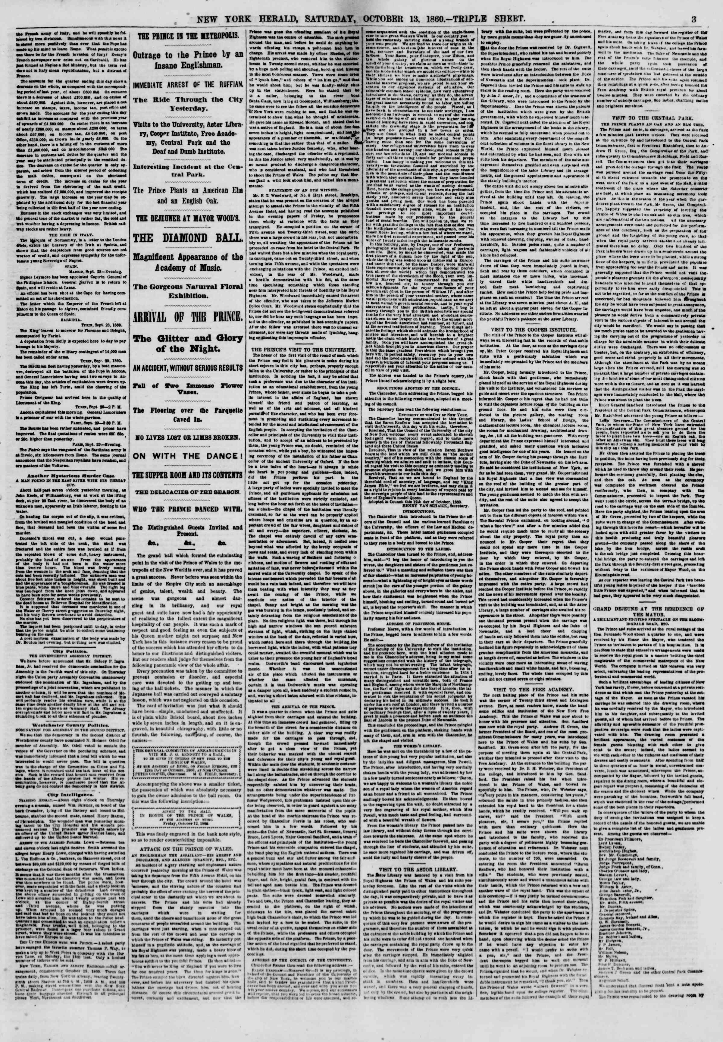 Newspaper of The New York Herald dated October 13, 1860 Page 3