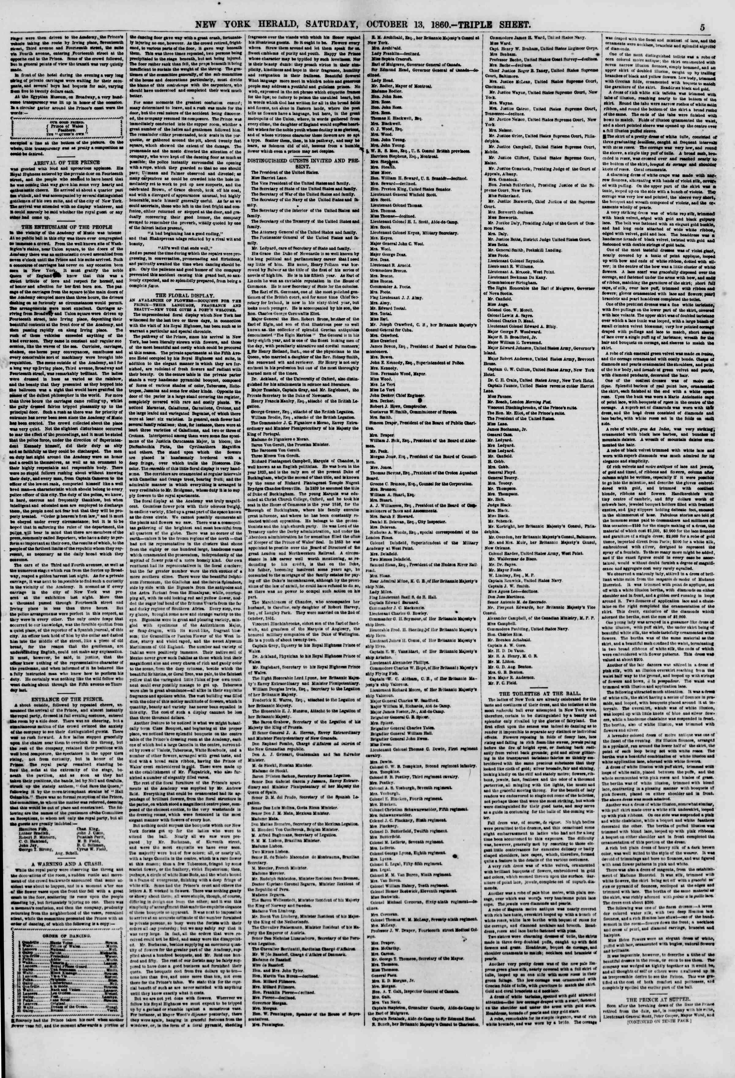 Newspaper of The New York Herald dated 13 Ekim 1860 Page 5