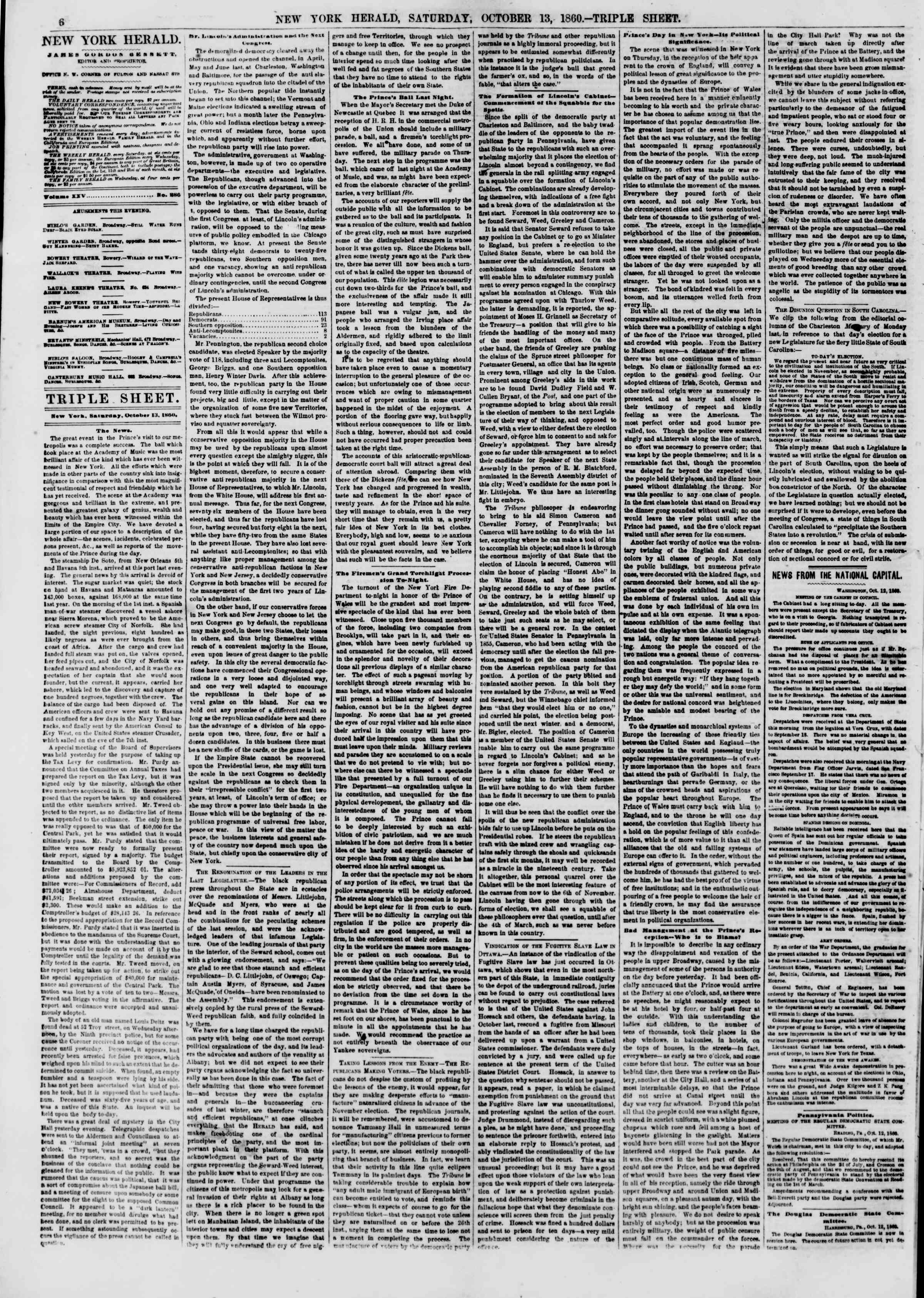 Newspaper of The New York Herald dated October 13, 1860 Page 6