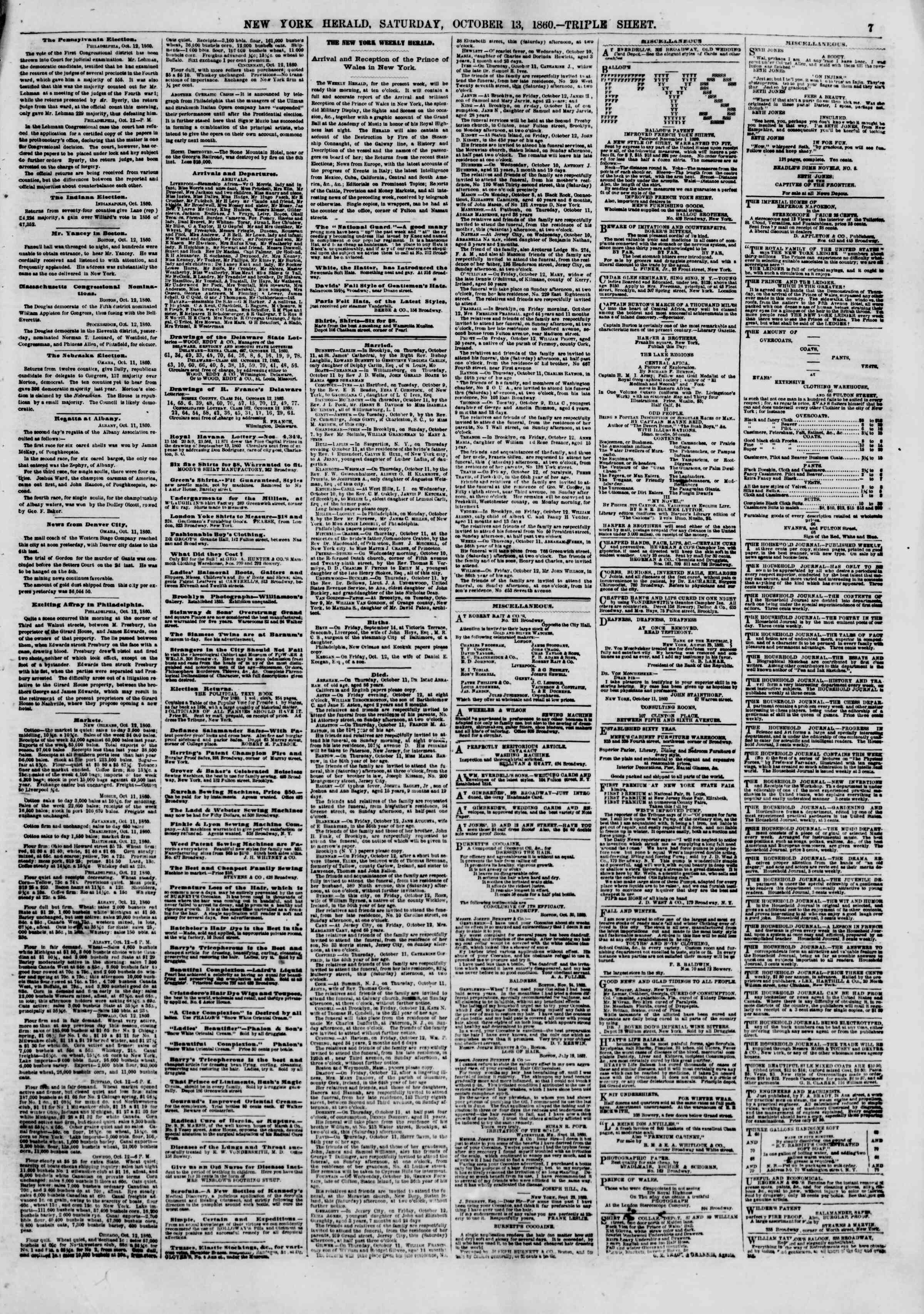Newspaper of The New York Herald dated October 13, 1860 Page 7