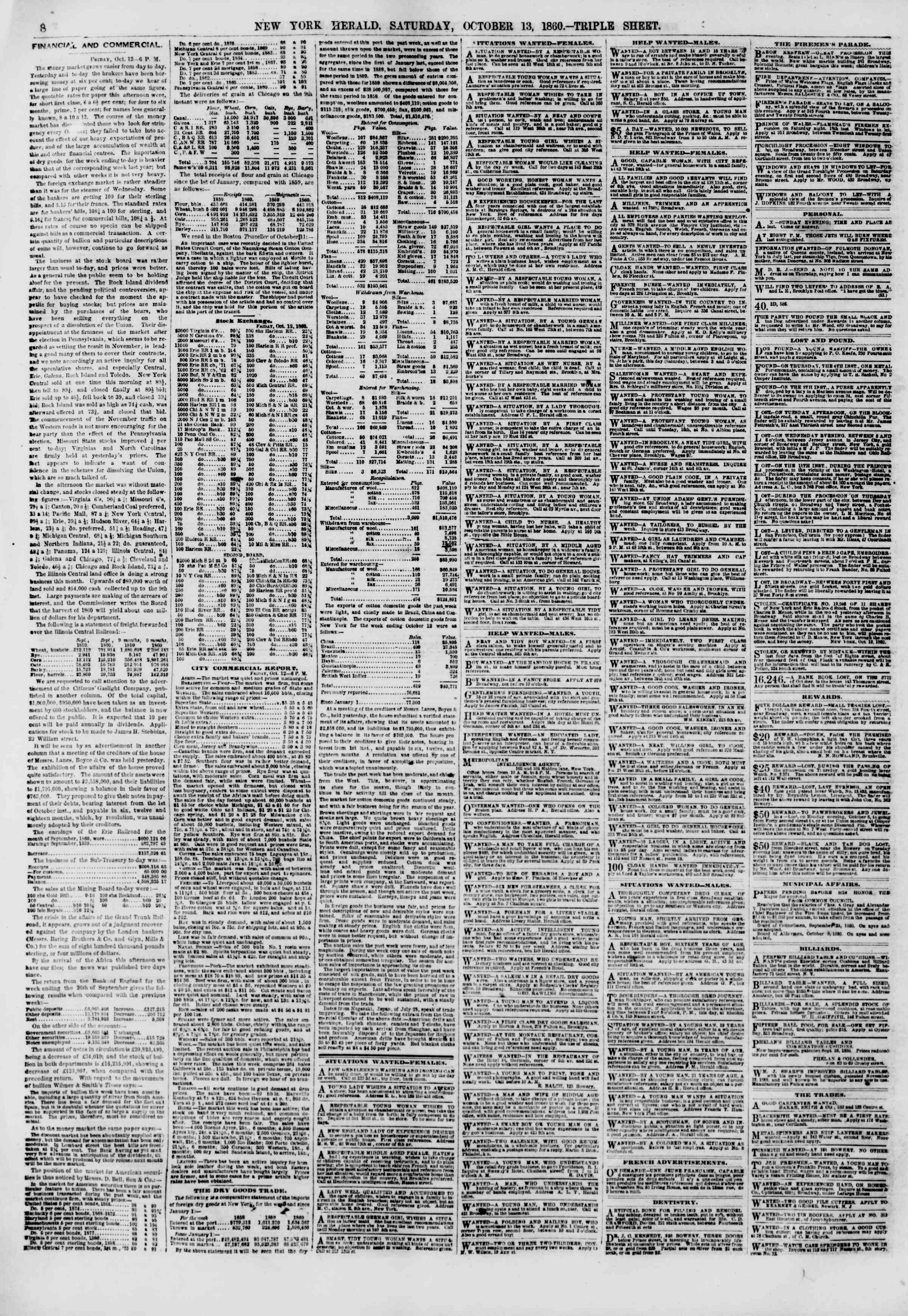 Newspaper of The New York Herald dated October 13, 1860 Page 8