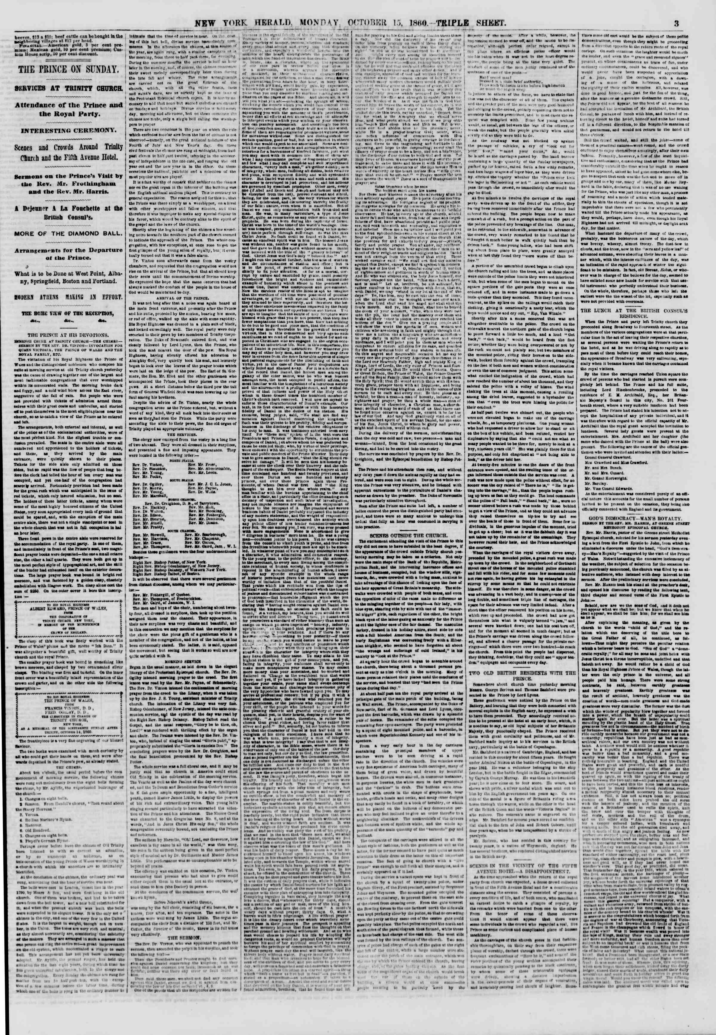 Newspaper of The New York Herald dated October 15, 1860 Page 3