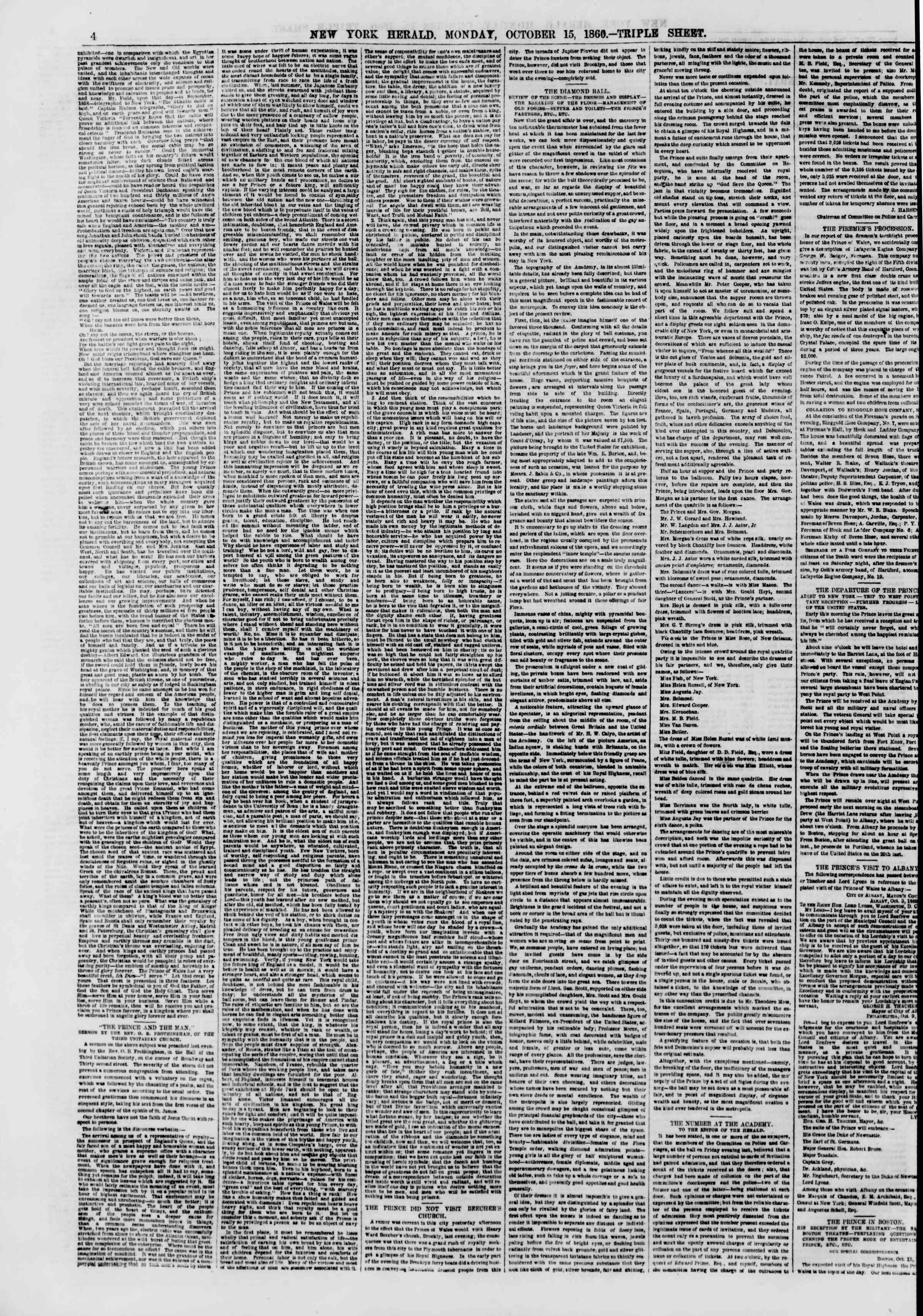 Newspaper of The New York Herald dated October 15, 1860 Page 4