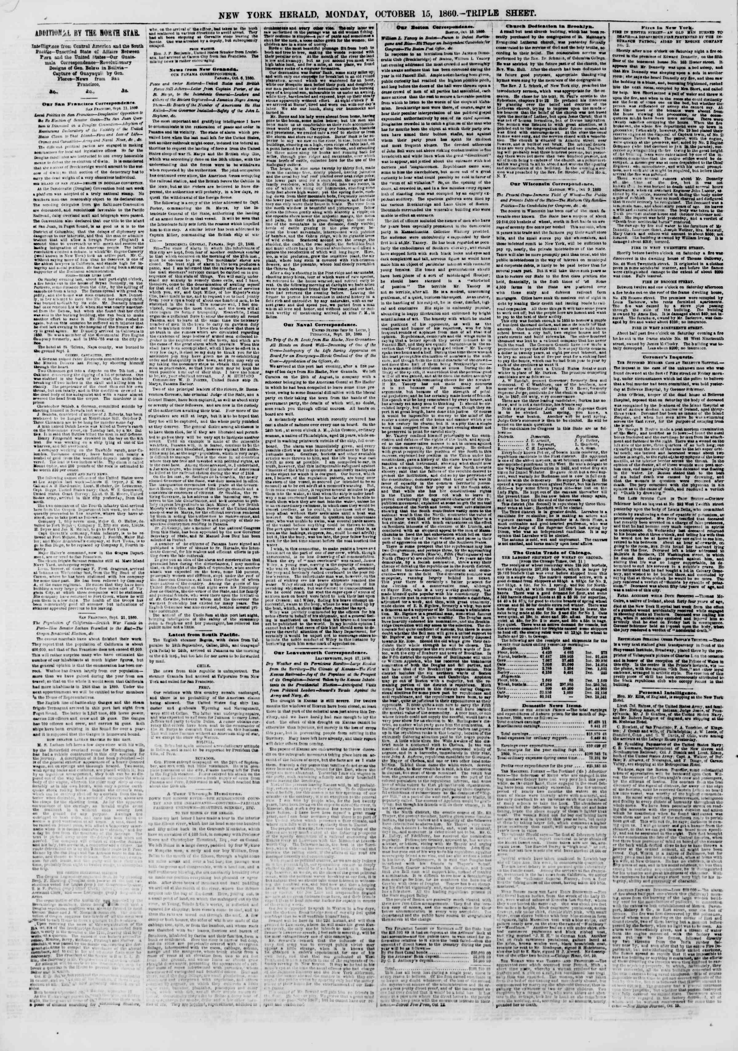 Newspaper of The New York Herald dated October 15, 1860 Page 10